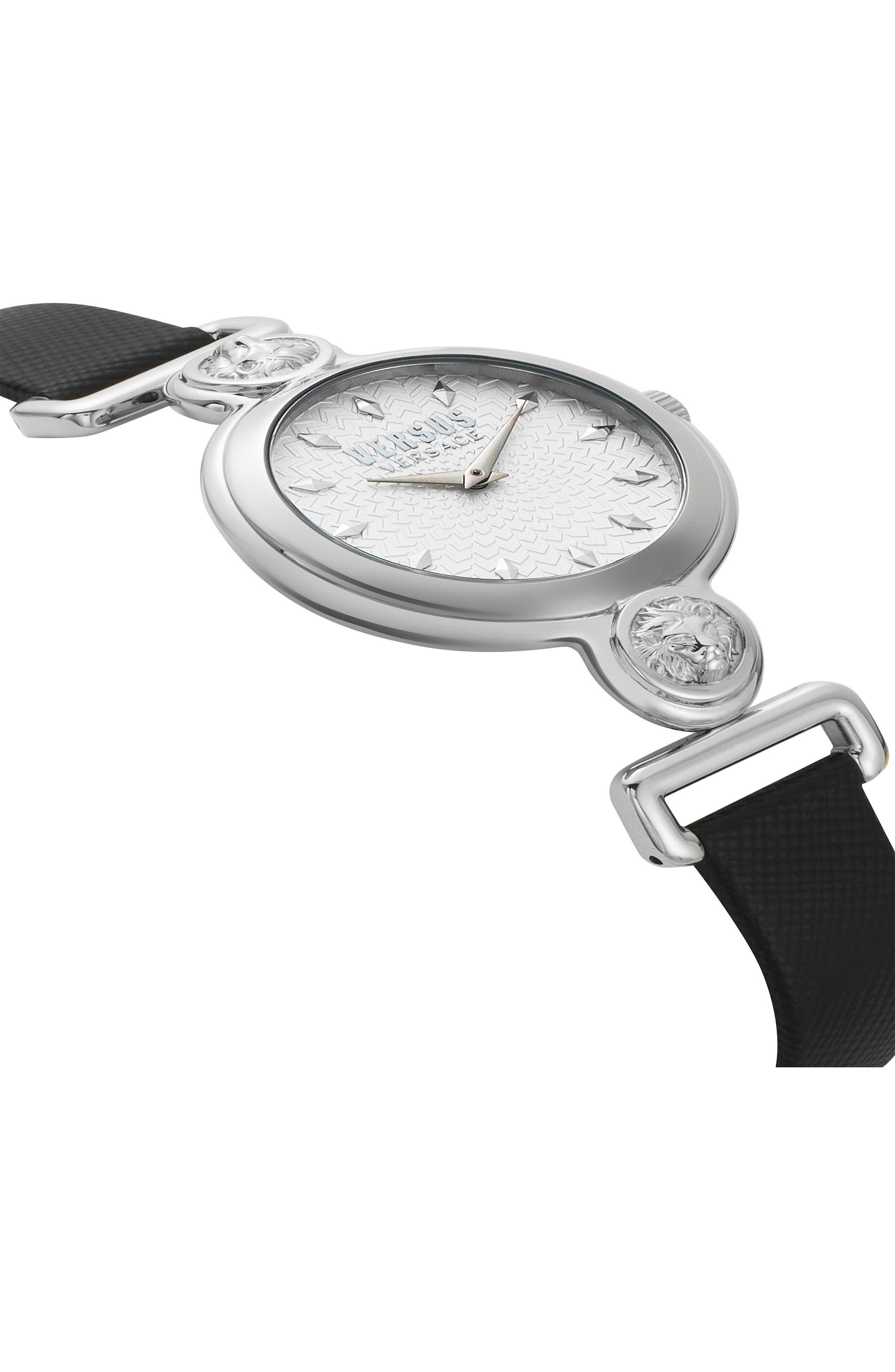 VERSUS VERSACE, Sunnyridge Leather Strap Watch, 34mm, Alternate thumbnail 3, color, 001
