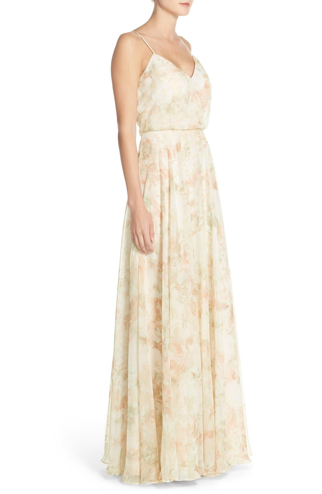JENNY YOO, Inesse V-Neck Chiffon Gown, Alternate thumbnail 5, color, 690