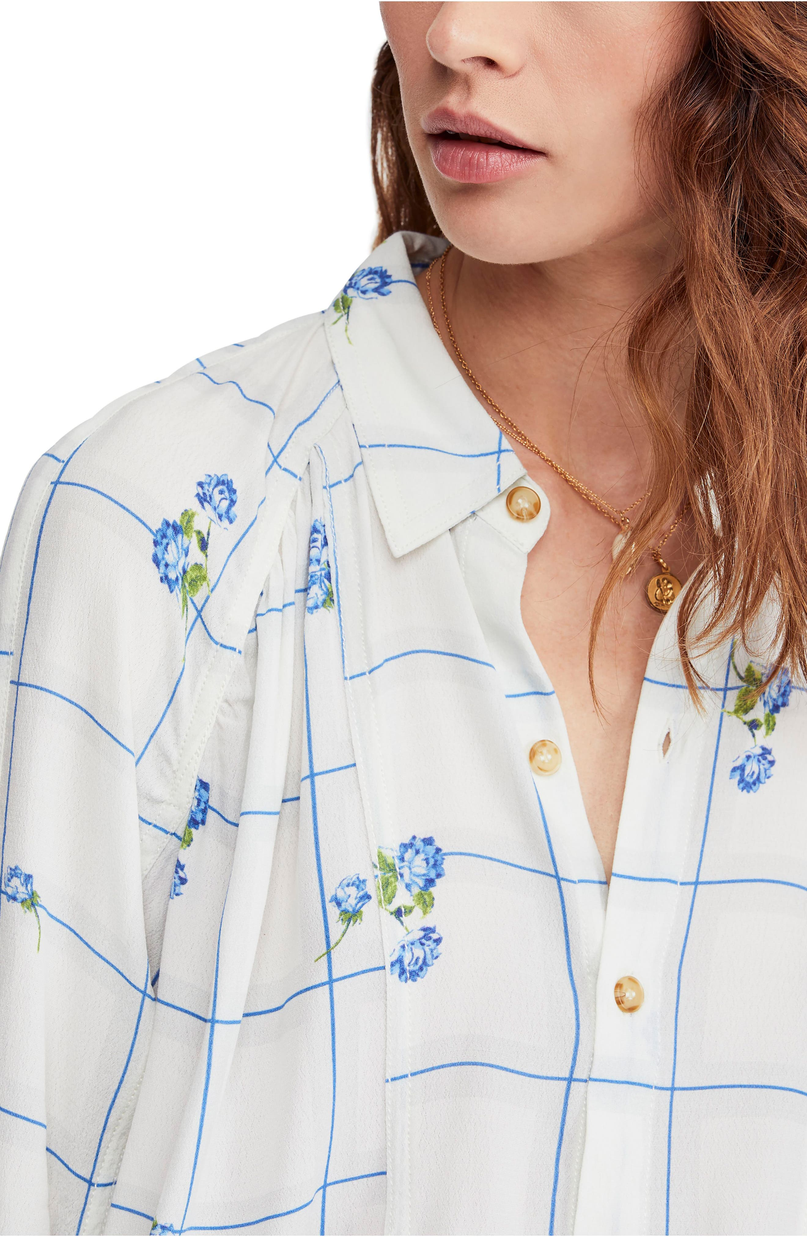 FREE PEOPLE, Window to My Heart Blouse, Alternate thumbnail 4, color, WHITE