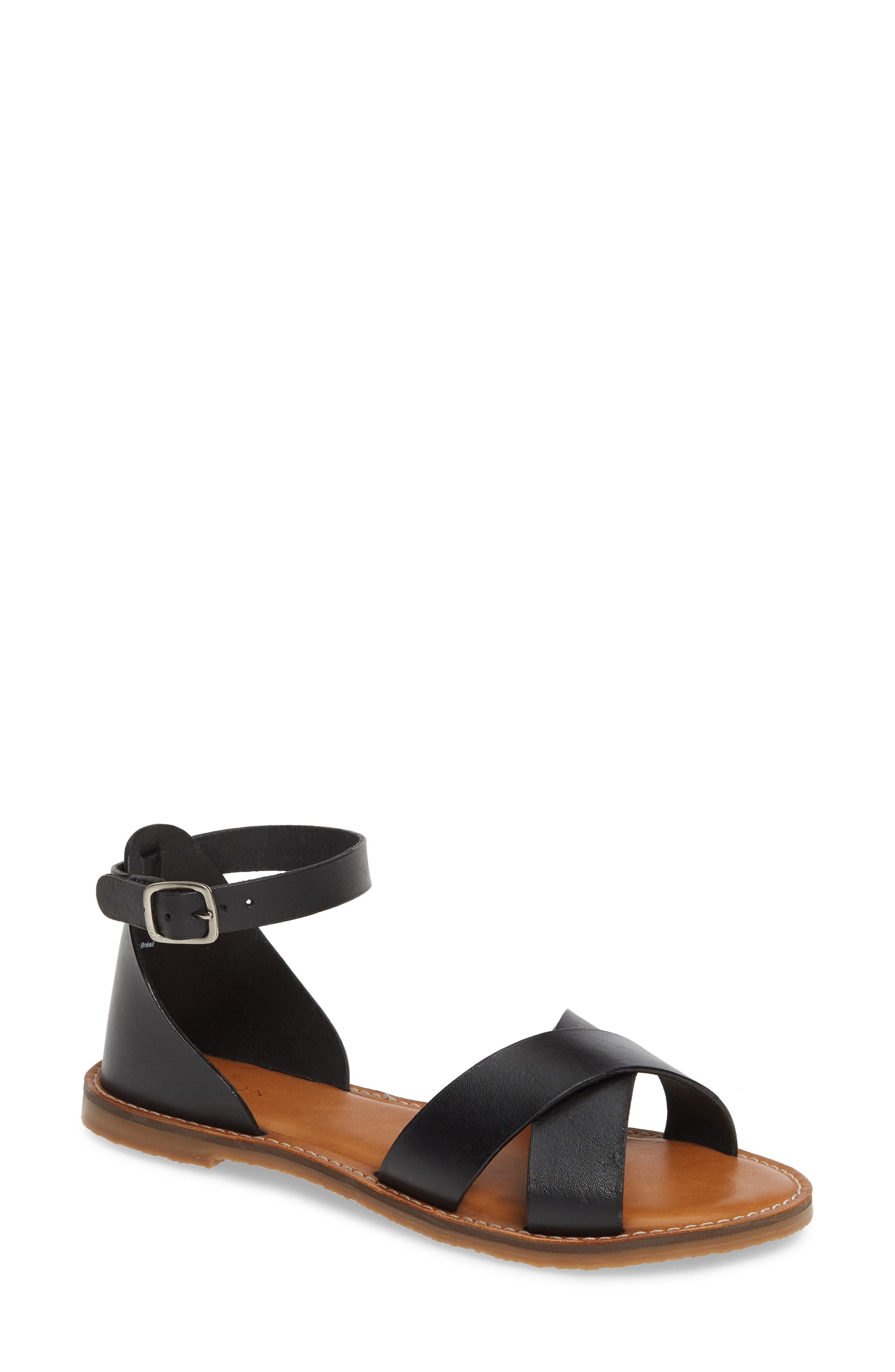 CASLON<SUP>®</SUP>, Oliver Sandal, Main thumbnail 1, color, BLACK LEATHER