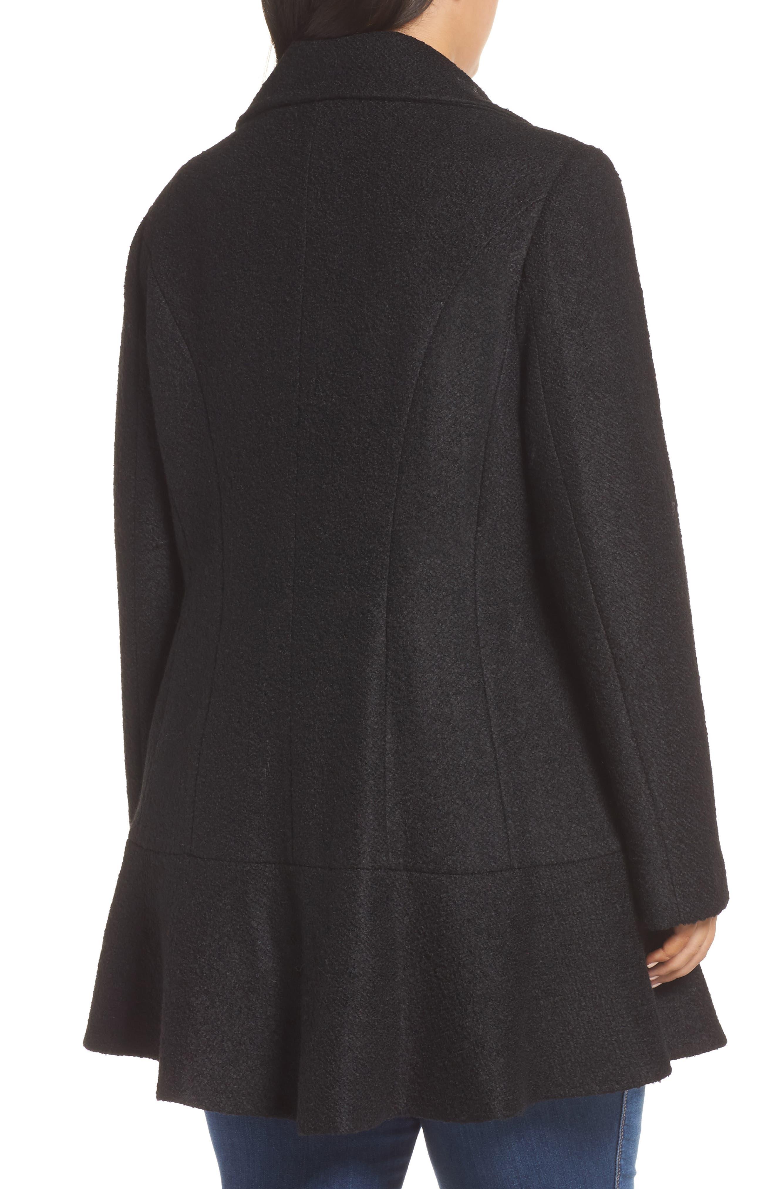 KENSIE, Notch Lapel Peplum Coat, Alternate thumbnail 2, color, BLACK