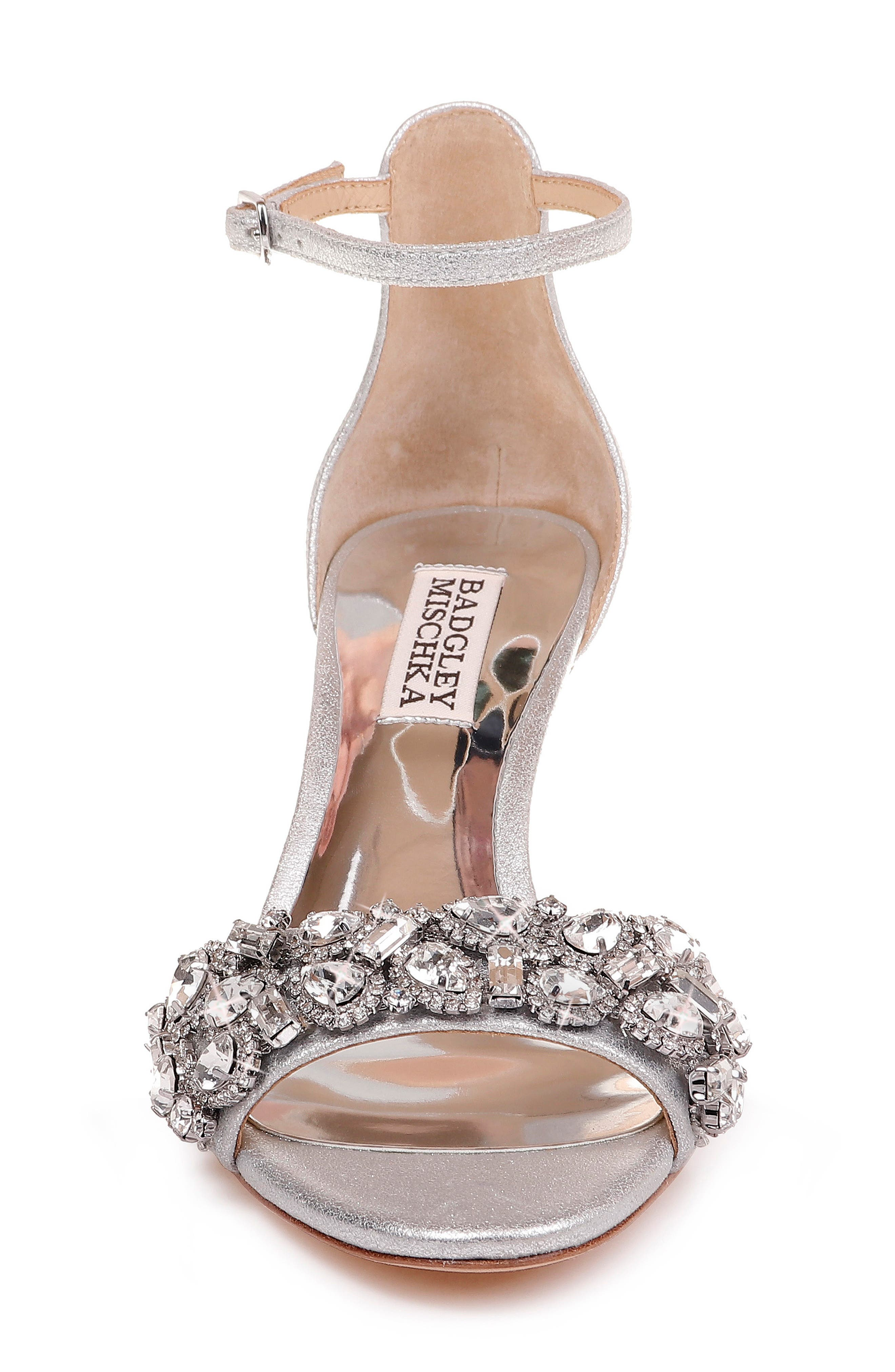 BADGLEY MISCHKA COLLECTION, Badgley Mischka Lara Crystal Embellished Sandal, Alternate thumbnail 5, color, SILVER METALLIC SUEDE