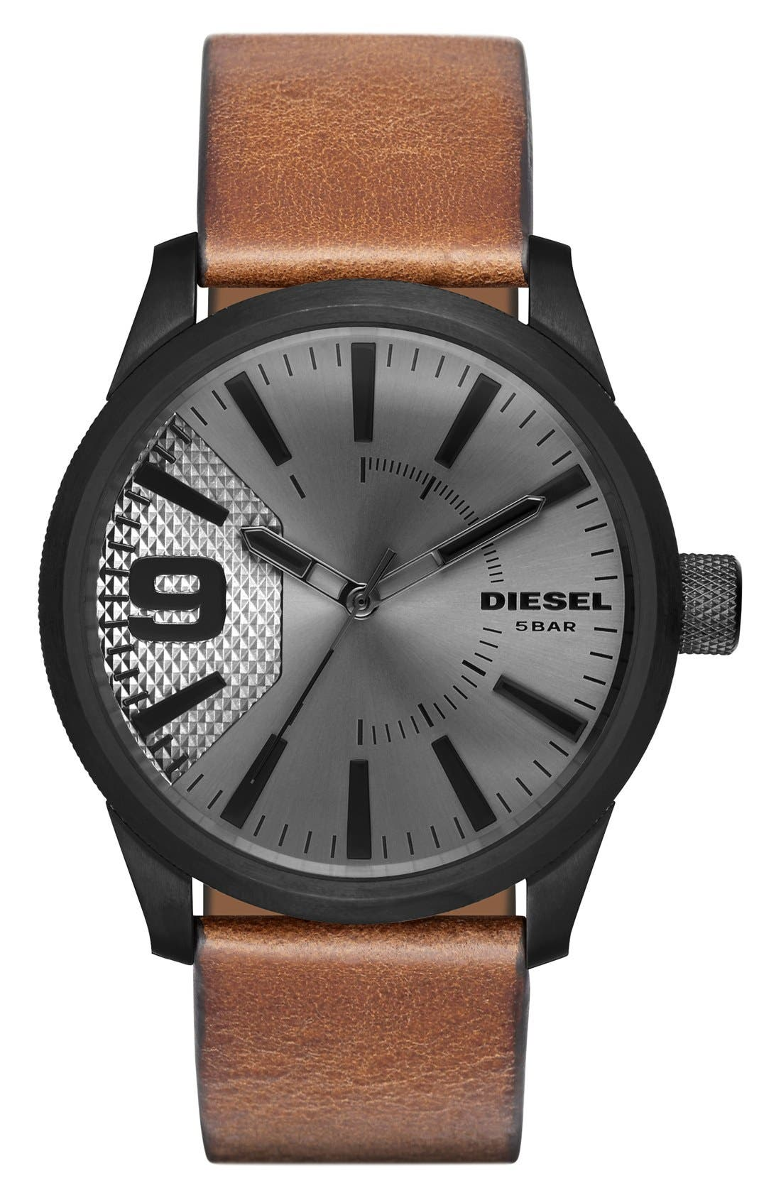 DIESEL<SUP>®</SUP> 'The Rasp' Leather Strap Watch, 46mm, Main, color, BLACK