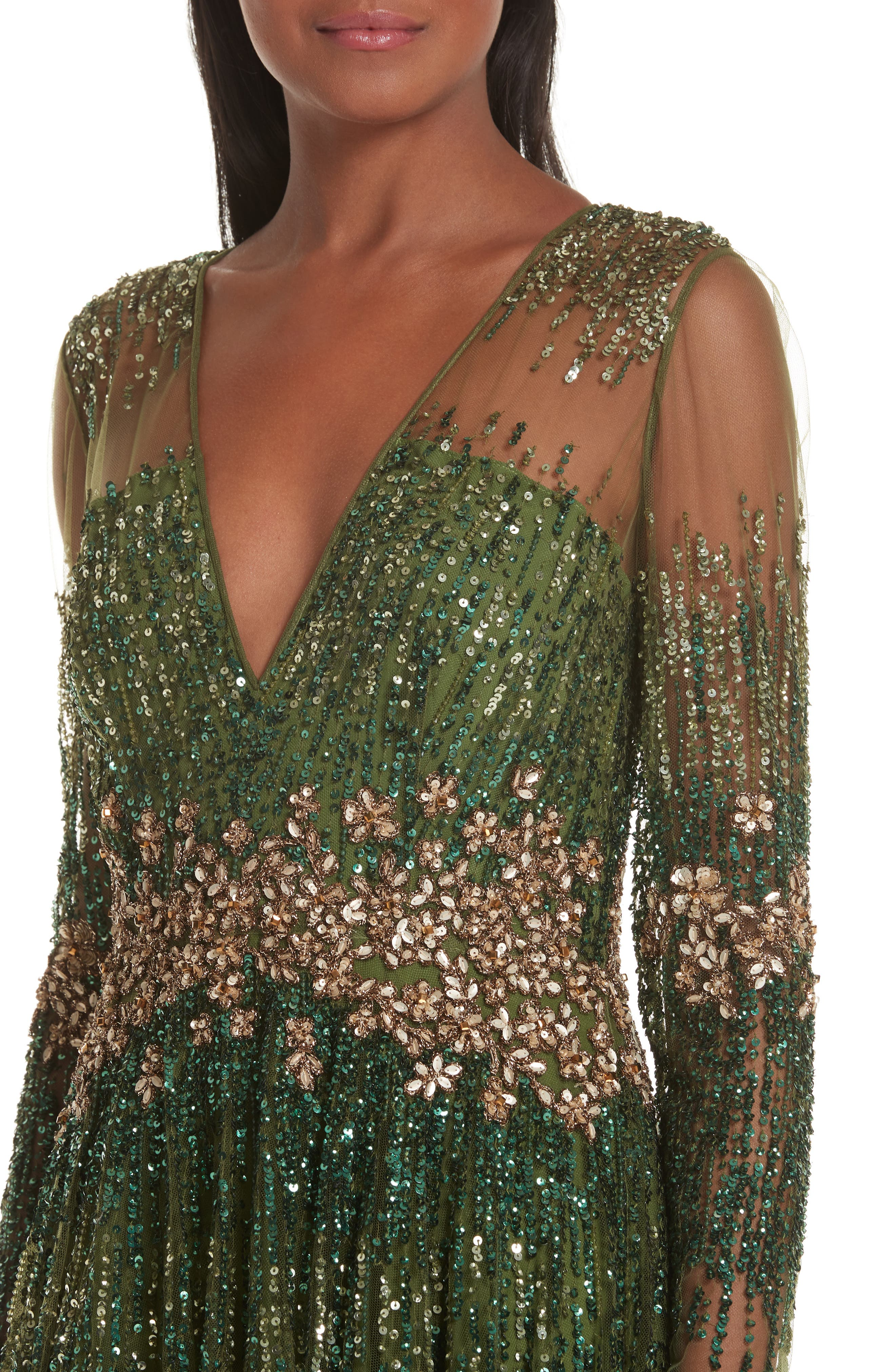PAMELLA ROLAND, Crystal Embellished A-Line Gown, Alternate thumbnail 5, color, SAGE MULTI