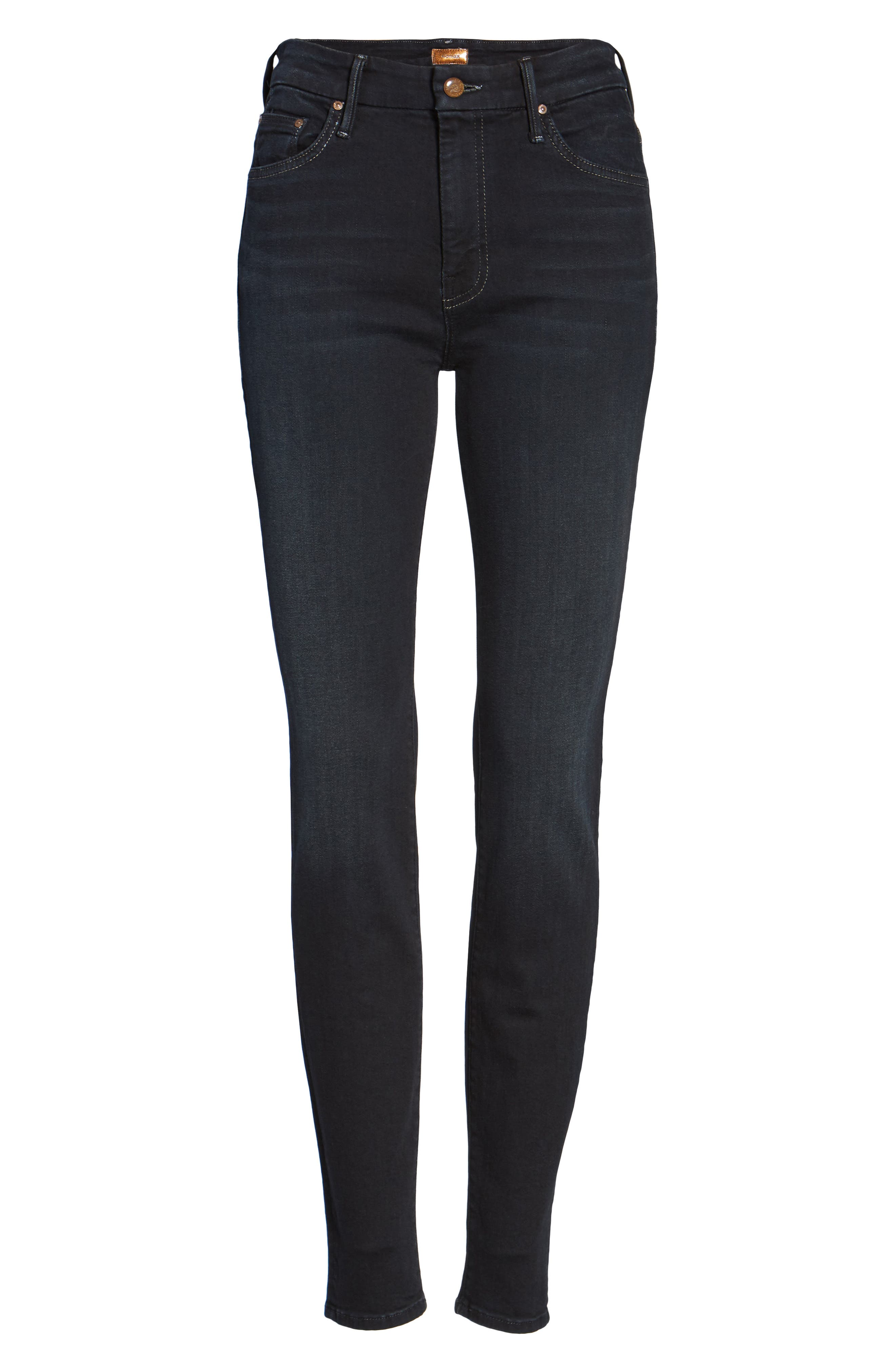 MOTHER, 'The Looker' High Rise Skinny Jeans, Alternate thumbnail 7, color, COFFEE TEA OR ME