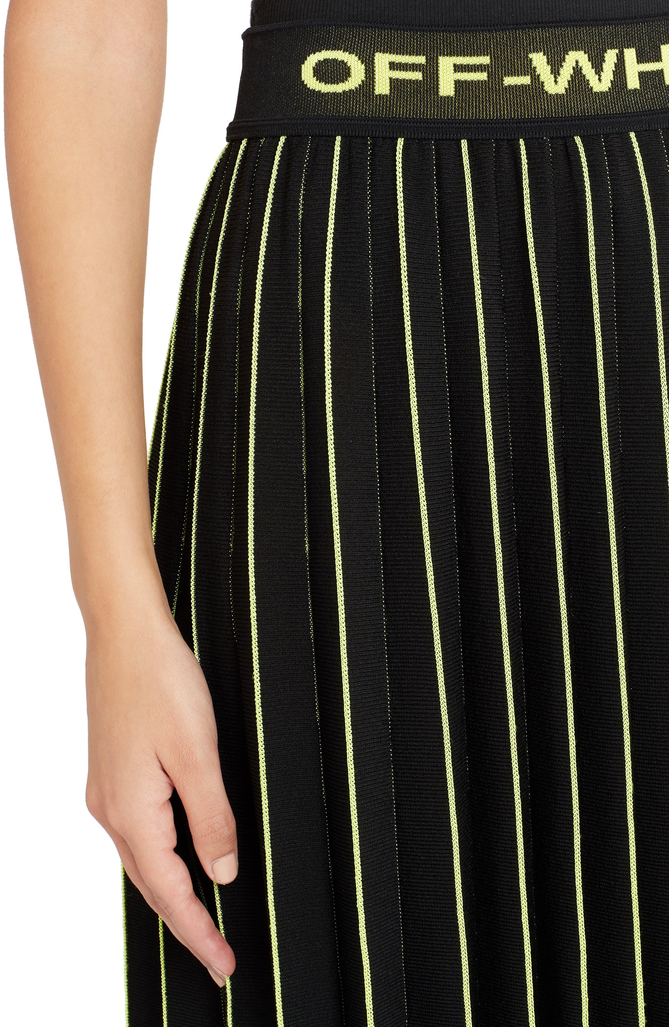 OFF-WHITE, Plissé Sweater Skirt, Alternate thumbnail 4, color, BLACK