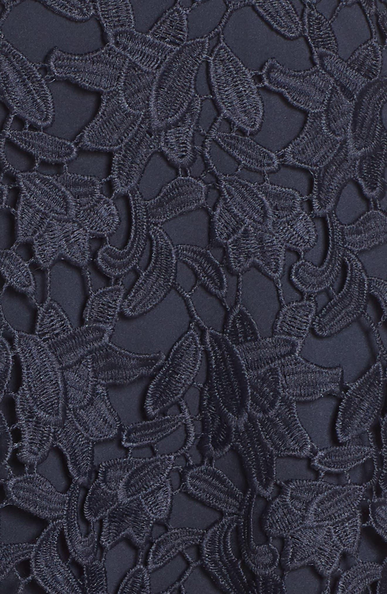 ELIZA J, Asymmetrical Lace Dress, Alternate thumbnail 6, color, NAVY