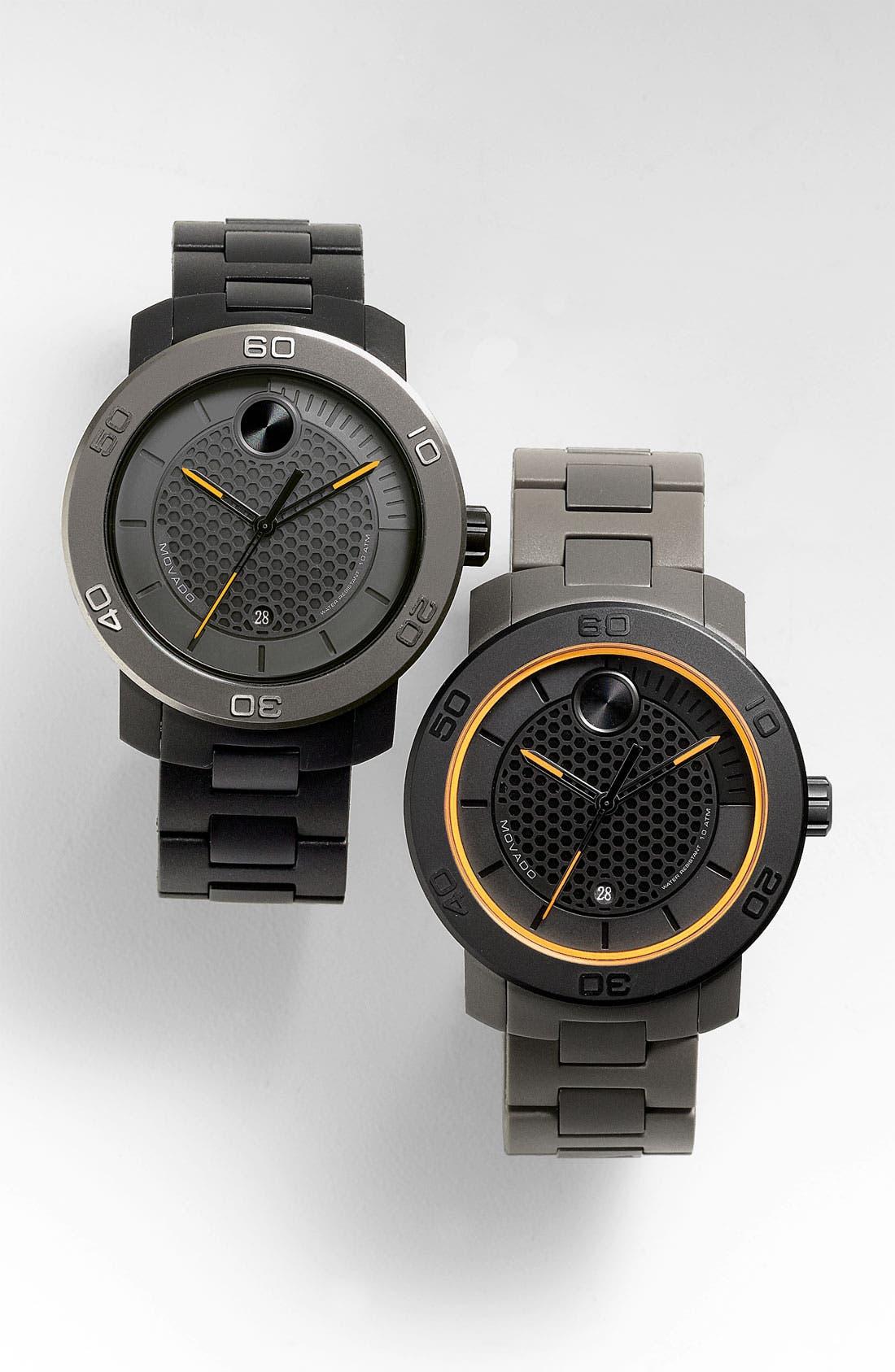 MOVADO, 'Bold' Bracelet Watch, 46mm, Alternate thumbnail 5, color, 001