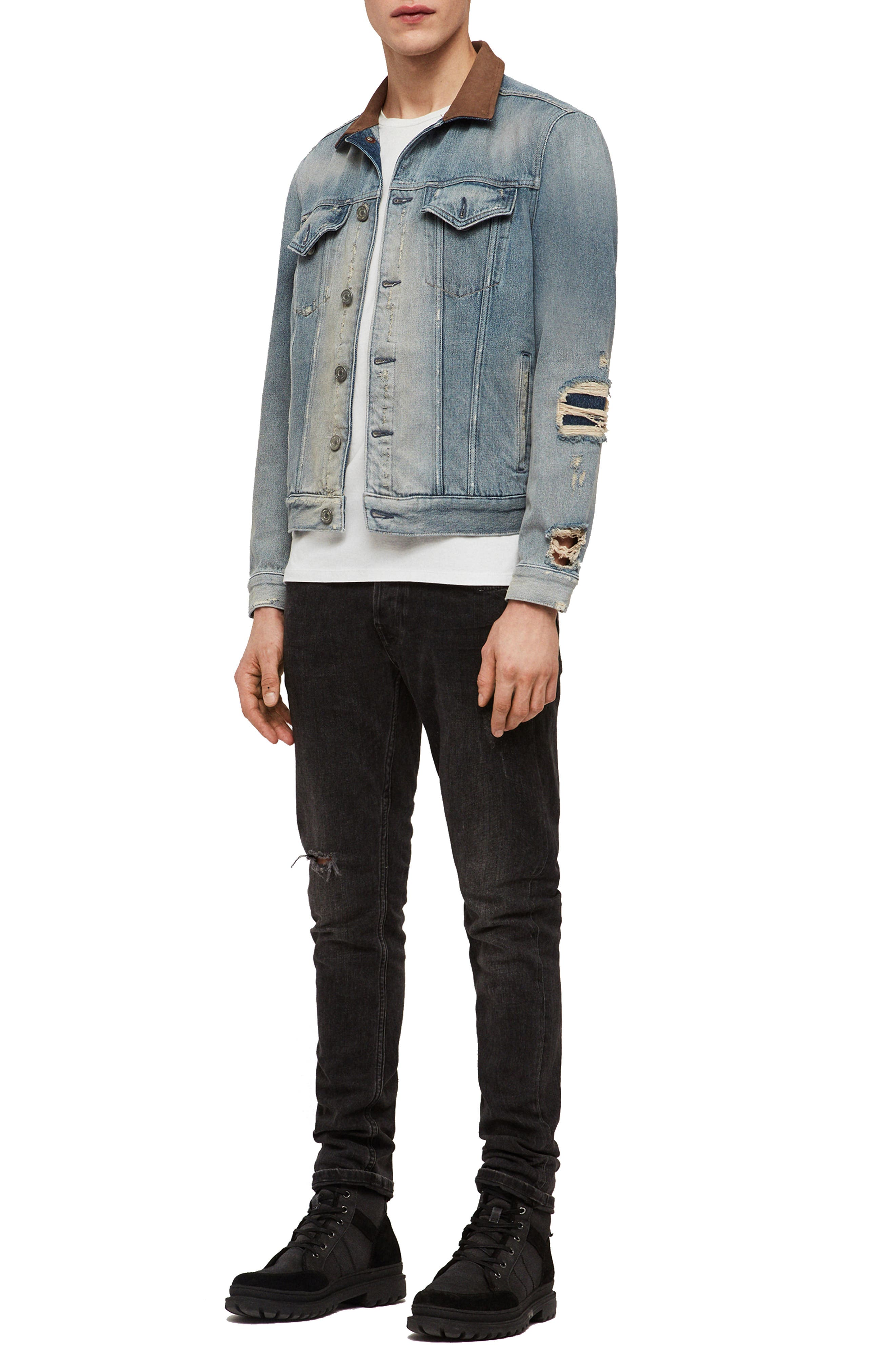 ALLSAINTS, Iren Slim Fit Denim Jacket with Leather Collar, Alternate thumbnail 7, color, MID INDIGO BLUE