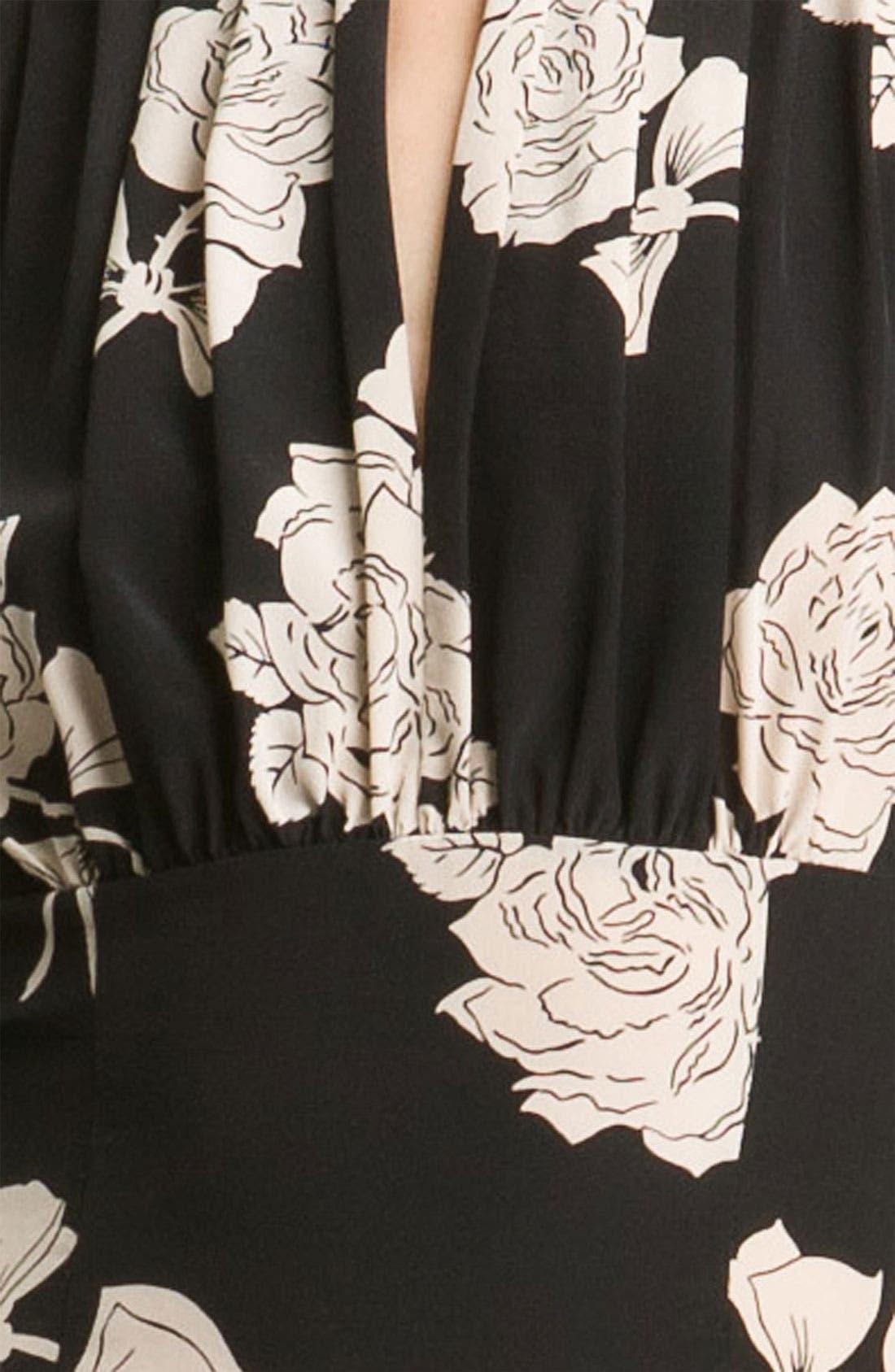 TRACY REESE, Rose Print Silk Dress, Alternate thumbnail 2, color, 001