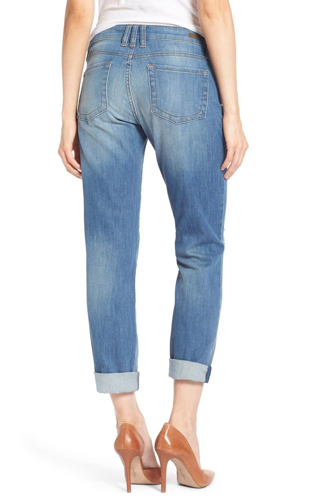 KUT FROM THE KLOTH, 'Catherine' Distressed Stretch Boyfriend Jeans, Alternate thumbnail 4, color, 401