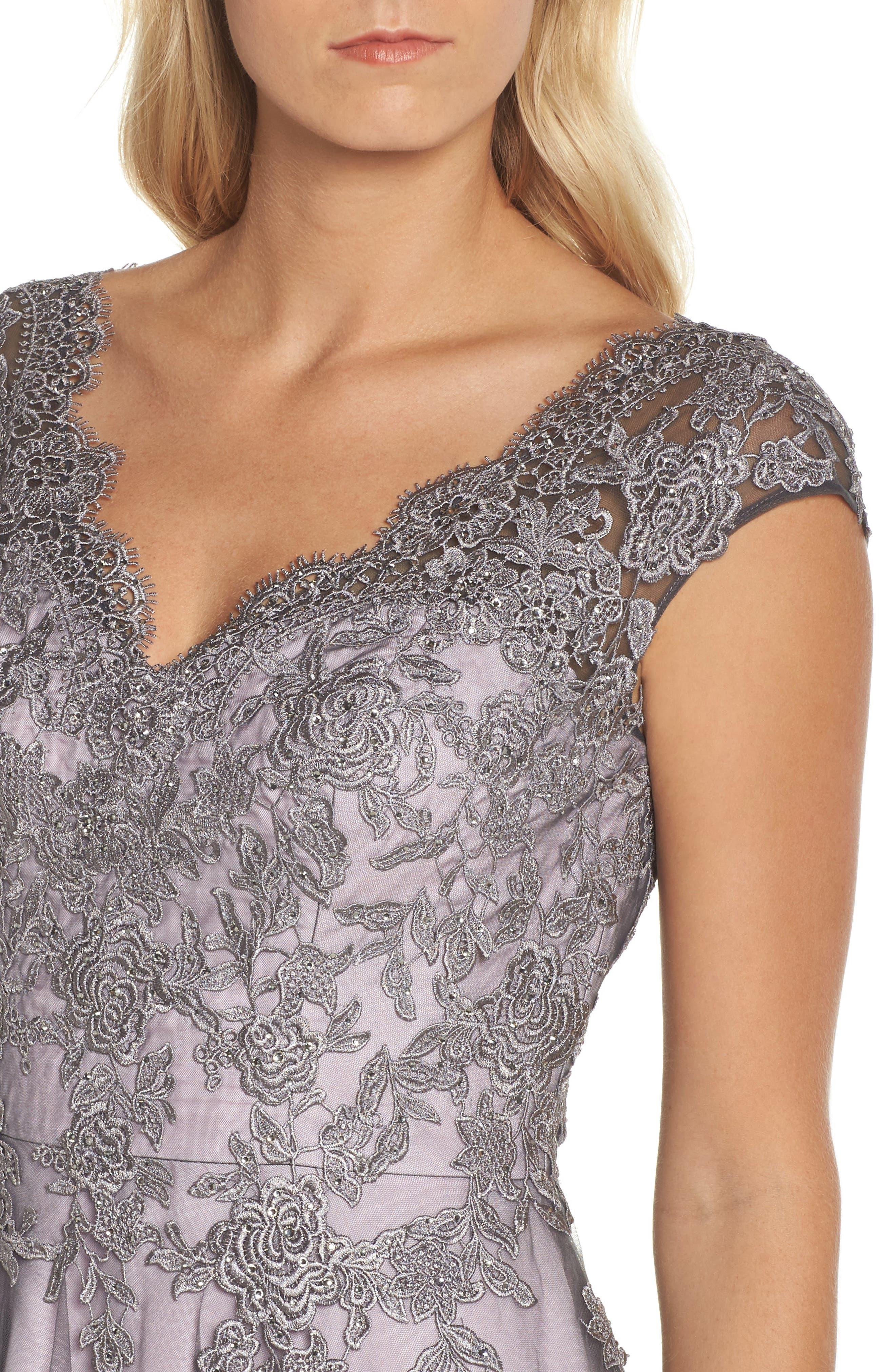 LA FEMME, Embellished Mesh A-Line Gown, Alternate thumbnail 4, color, PINK/ GRAY