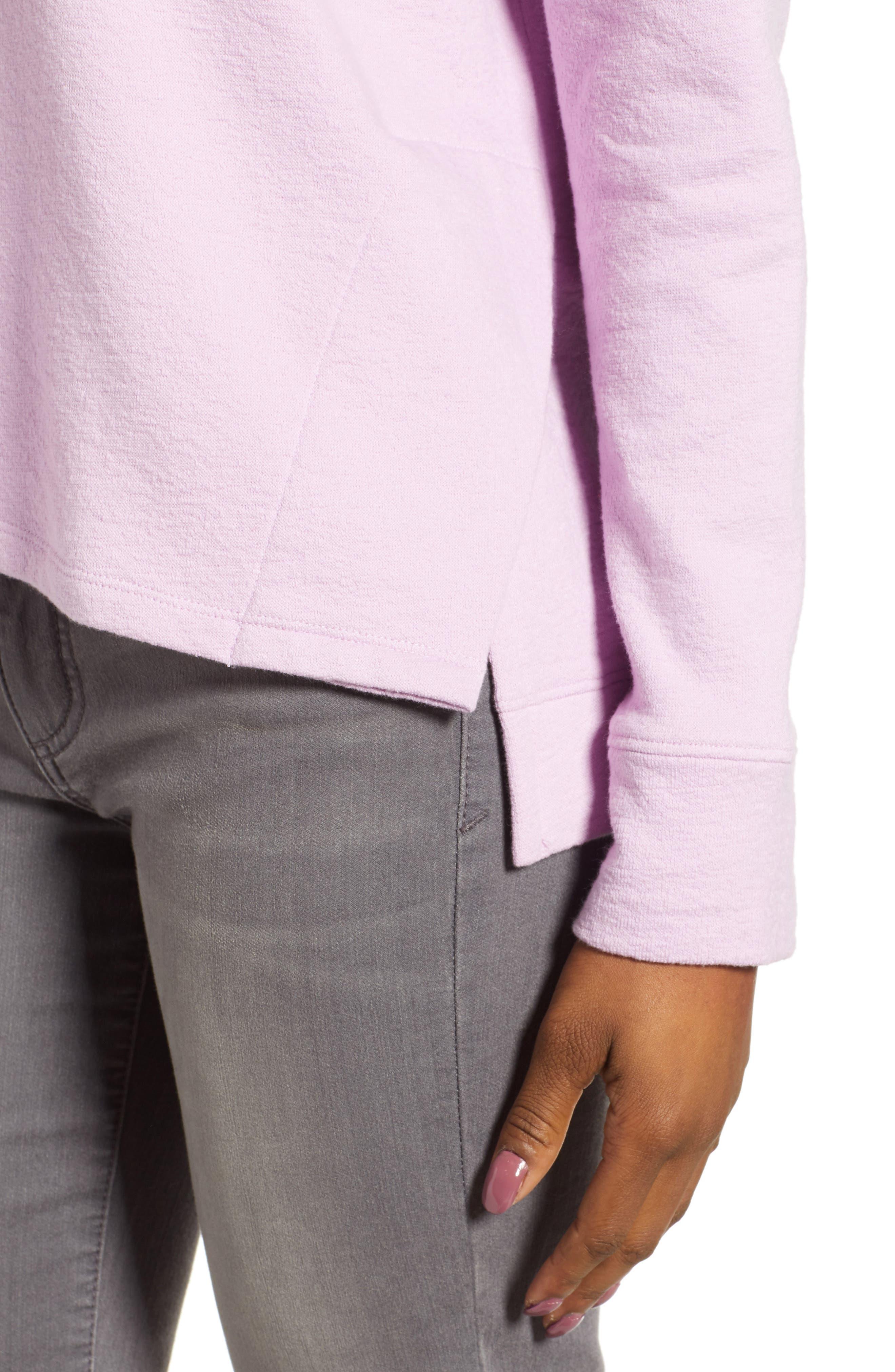 CASLON<SUP>®</SUP>, Side Slit Relaxed Sweatshirt, Alternate thumbnail 4, color, PINK BOUQUET
