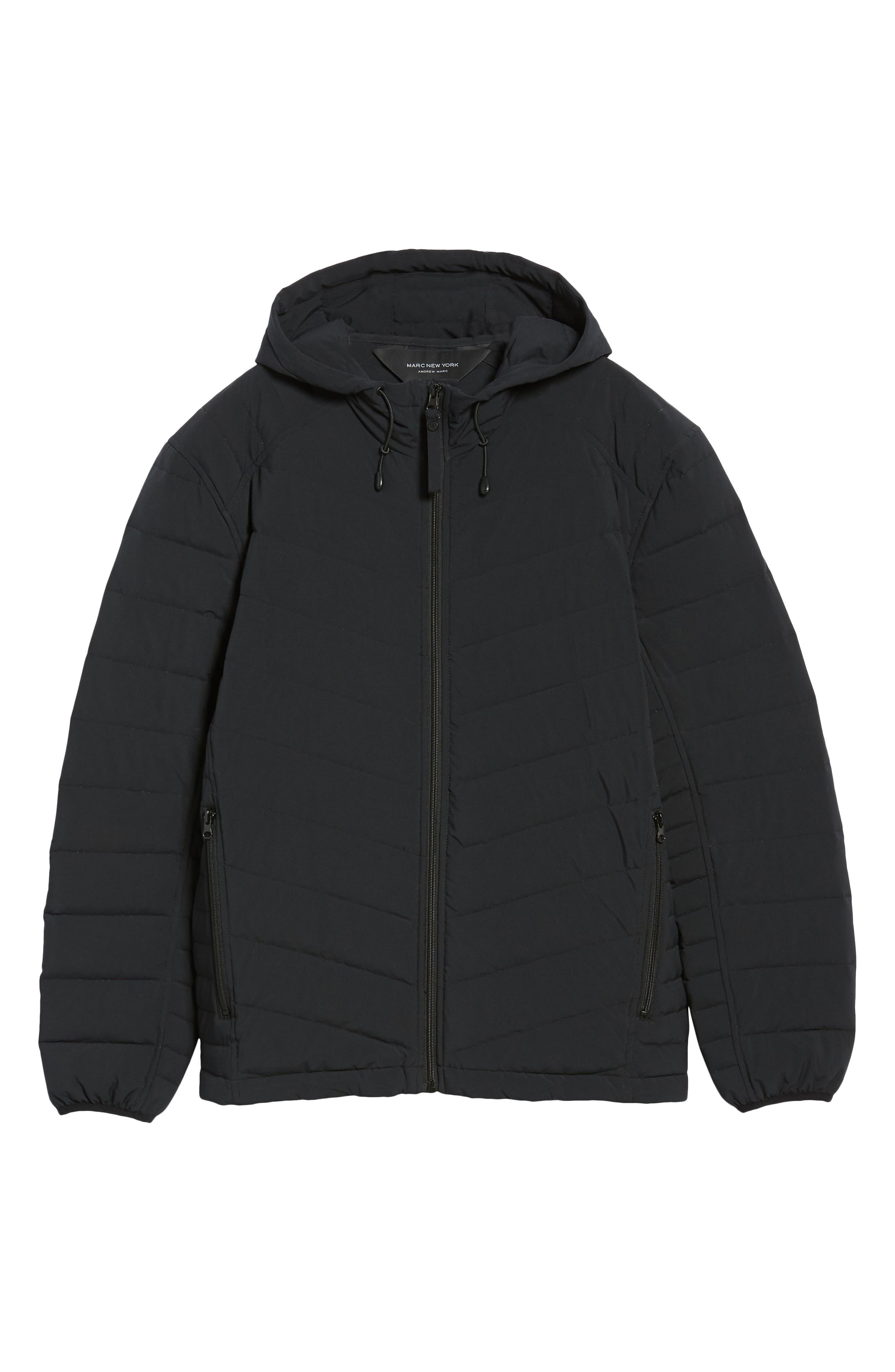 MARC NEW YORK, Delavan Down Hooded Jacket, Alternate thumbnail 5, color, BLACK