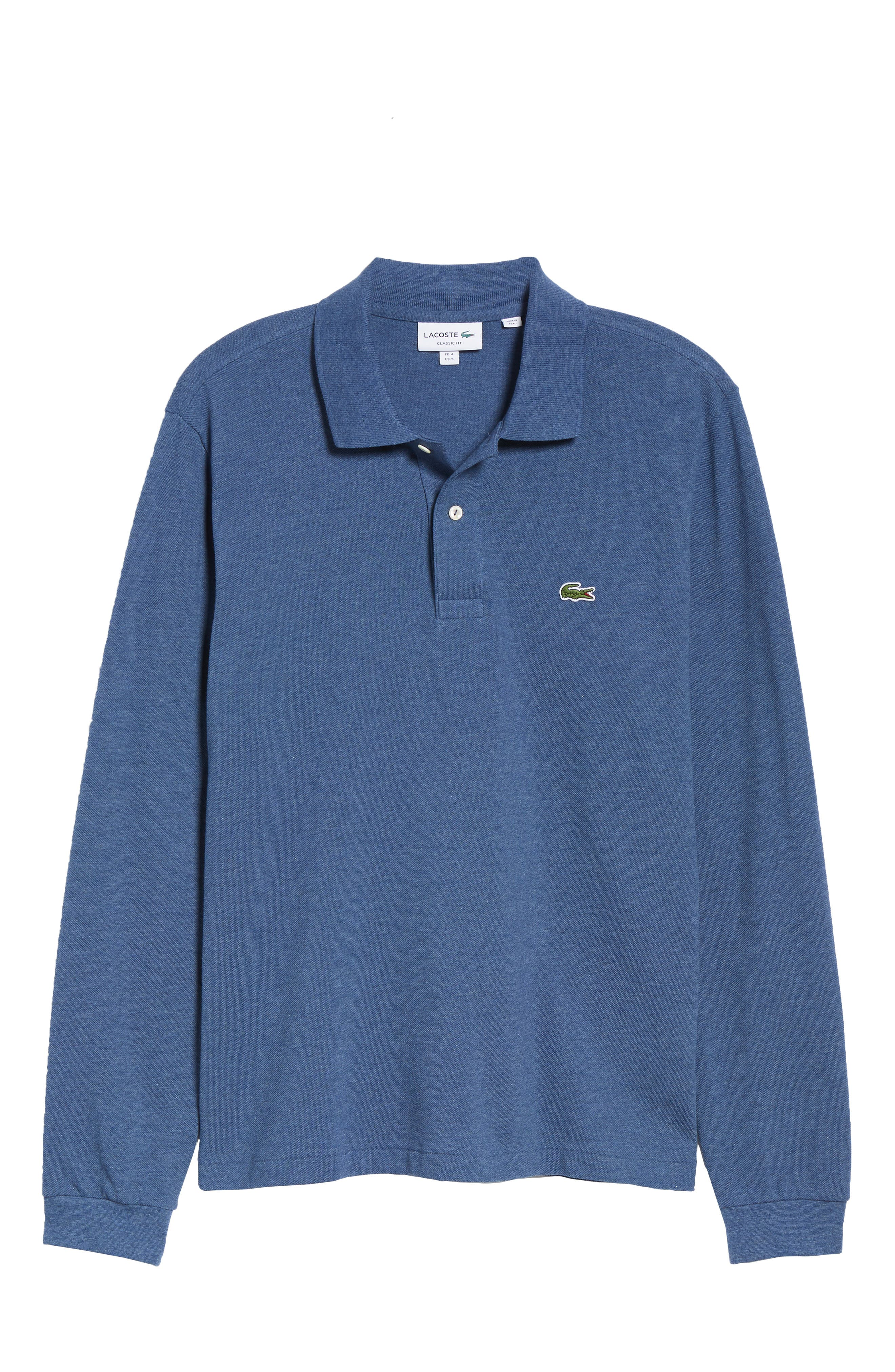 LACOSTE, Long Sleeve Piqué Polo, Alternate thumbnail 6, color, CRUISE CHINE
