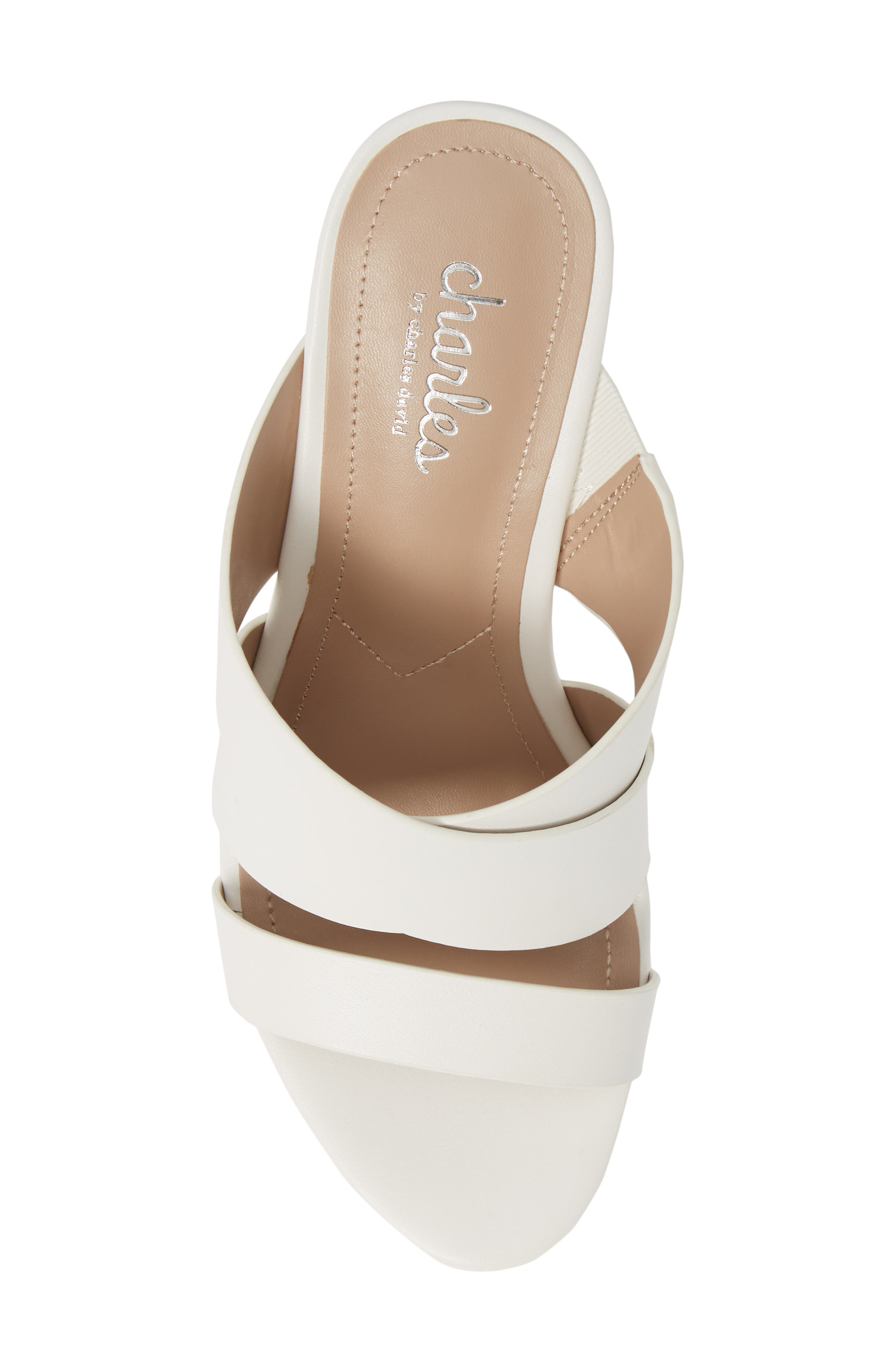 CHARLES BY CHARLES DAVID, Leslie Wedge Sandal, Alternate thumbnail 5, color, WHITE FAUX LEATHER