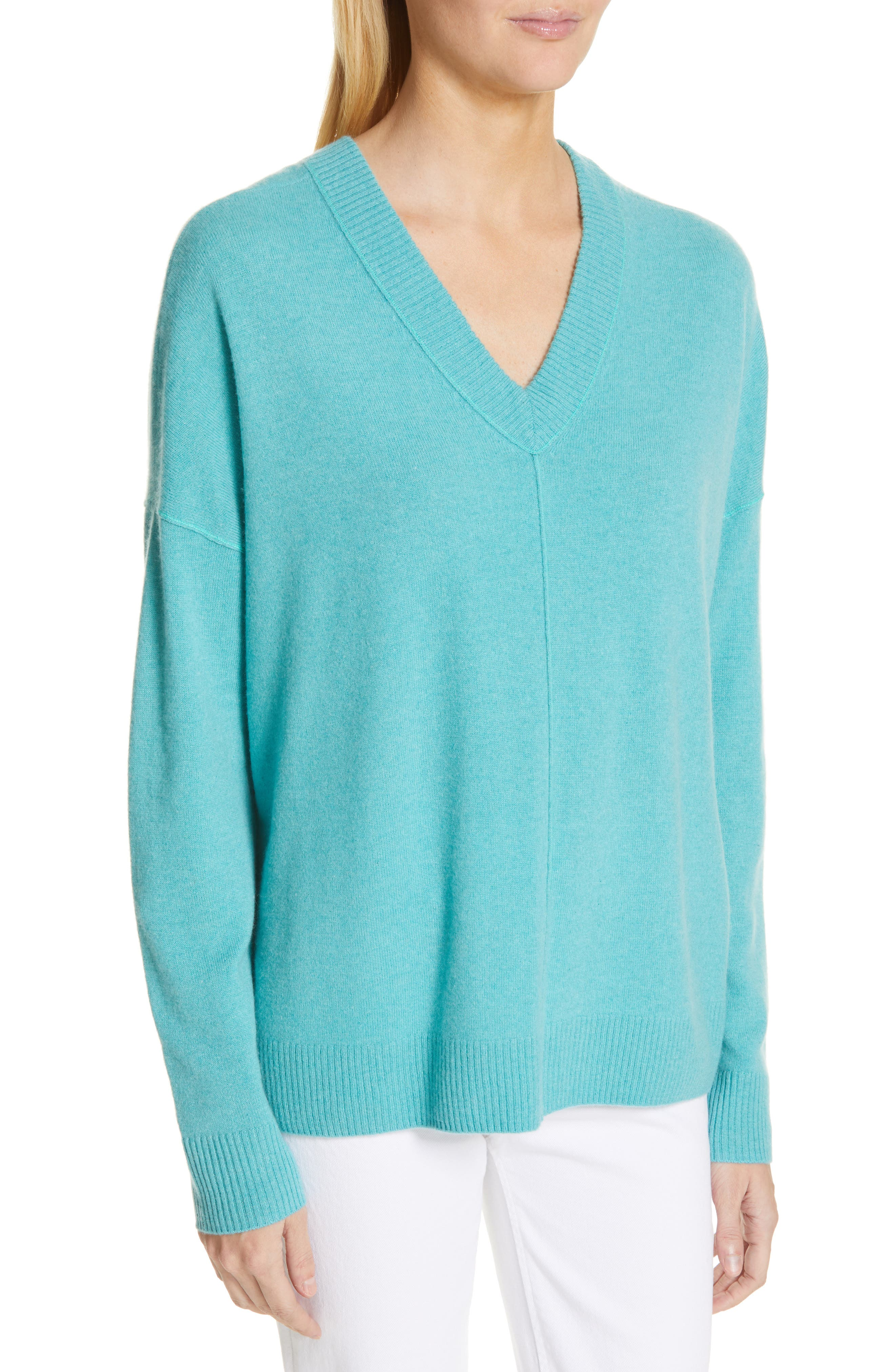 NORDSTROM SIGNATURE, Cashmere Double V-Neck Pullover, Alternate thumbnail 4, color, TEAL PORCELAIN