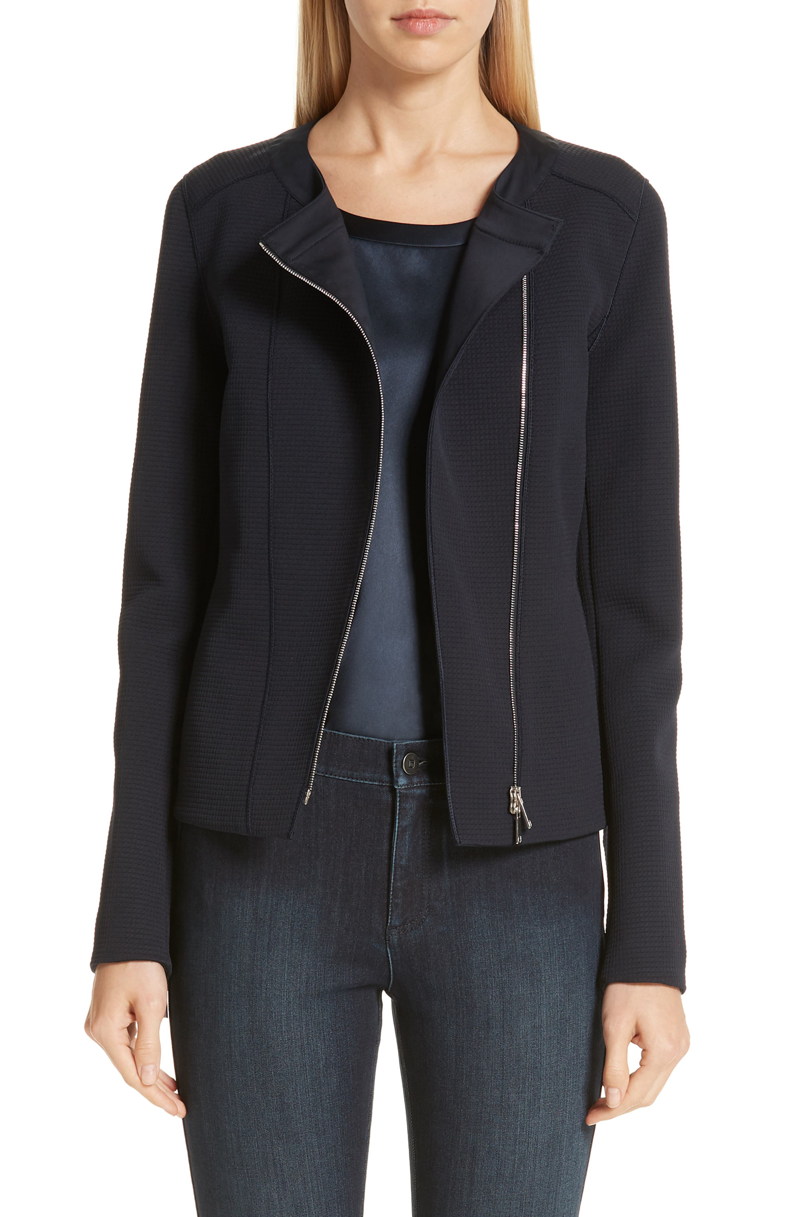 LAFAYETTE 148 NEW YORK, Trista Moto Jacket, Main thumbnail 1, color, INK