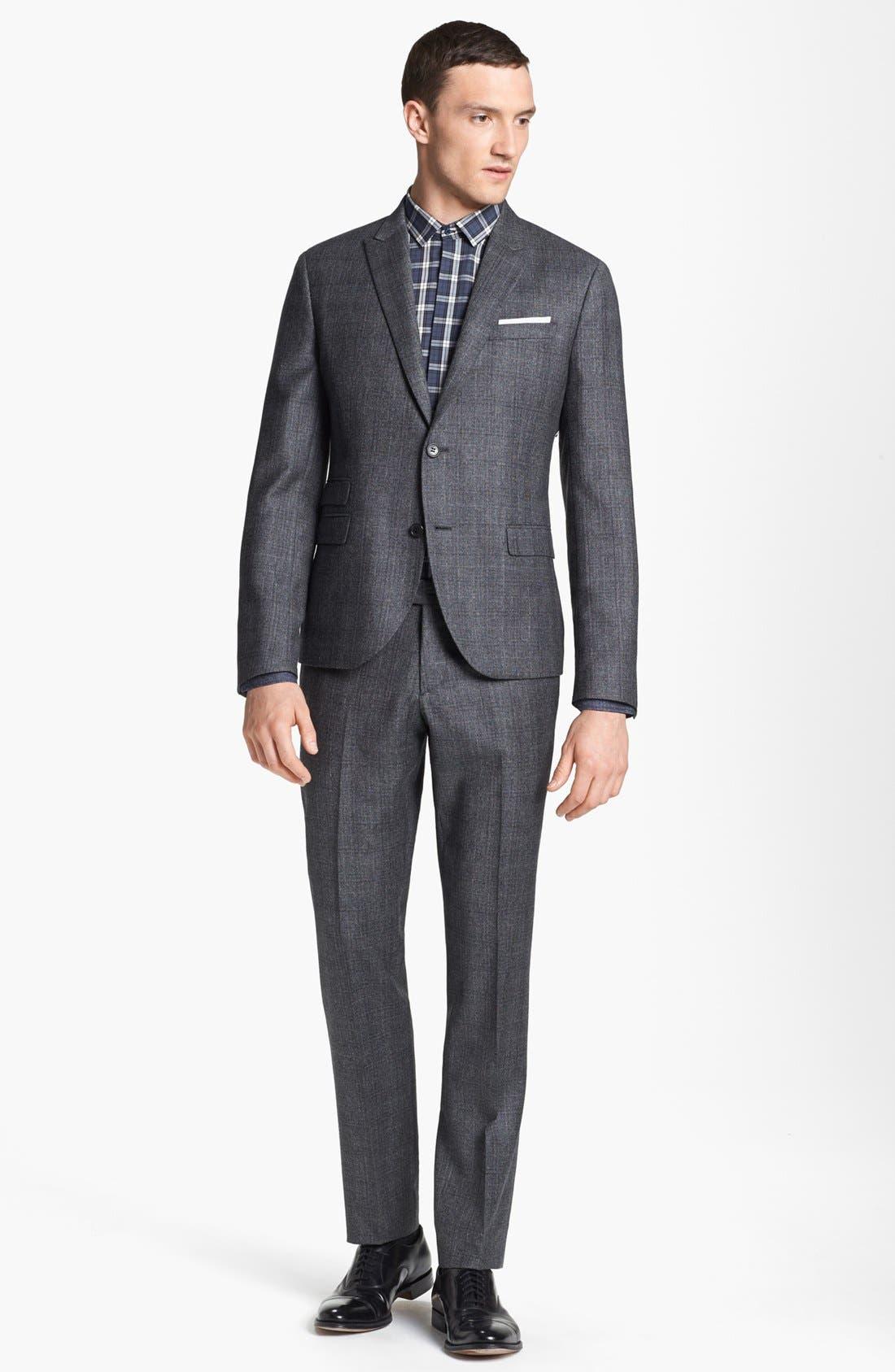 NEIL BARRETT, Windowpane Plaid Wool Suit, Main thumbnail 1, color, 020