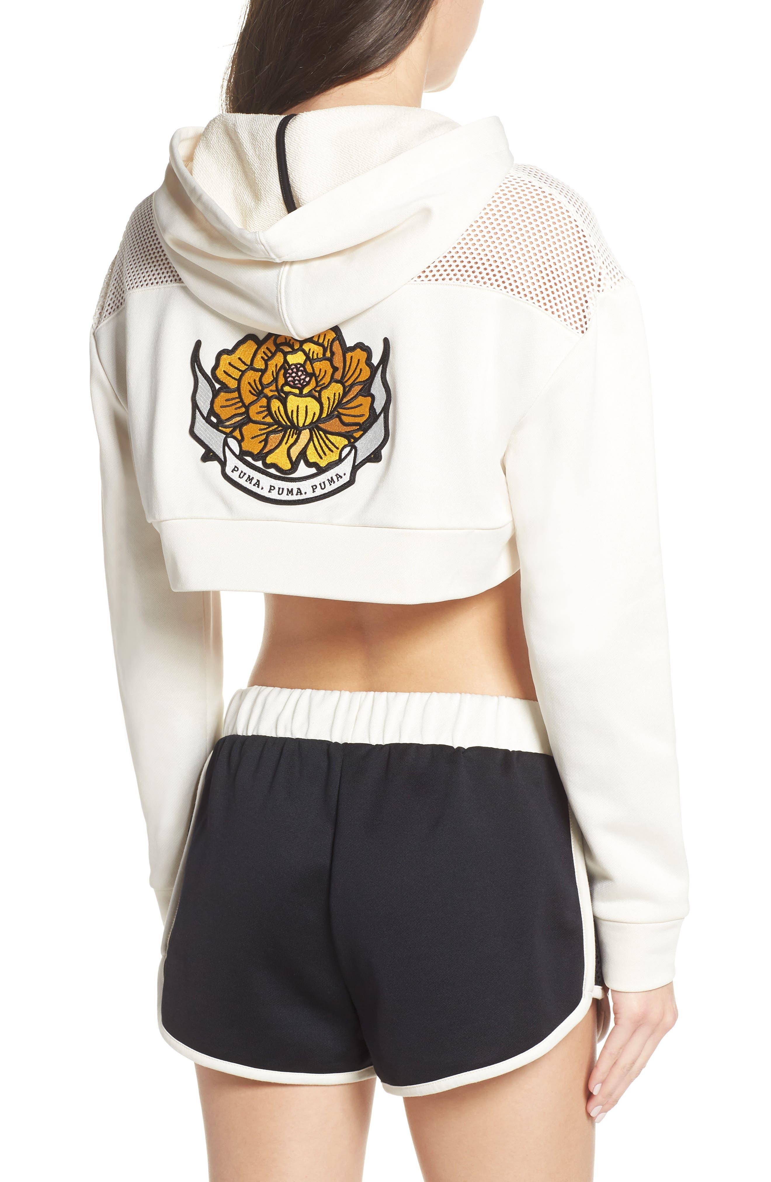 PUMA, Flourish Crop Hooded Sweatshirt, Alternate thumbnail 2, color, WHISPER WHITE-PUMA BLACK