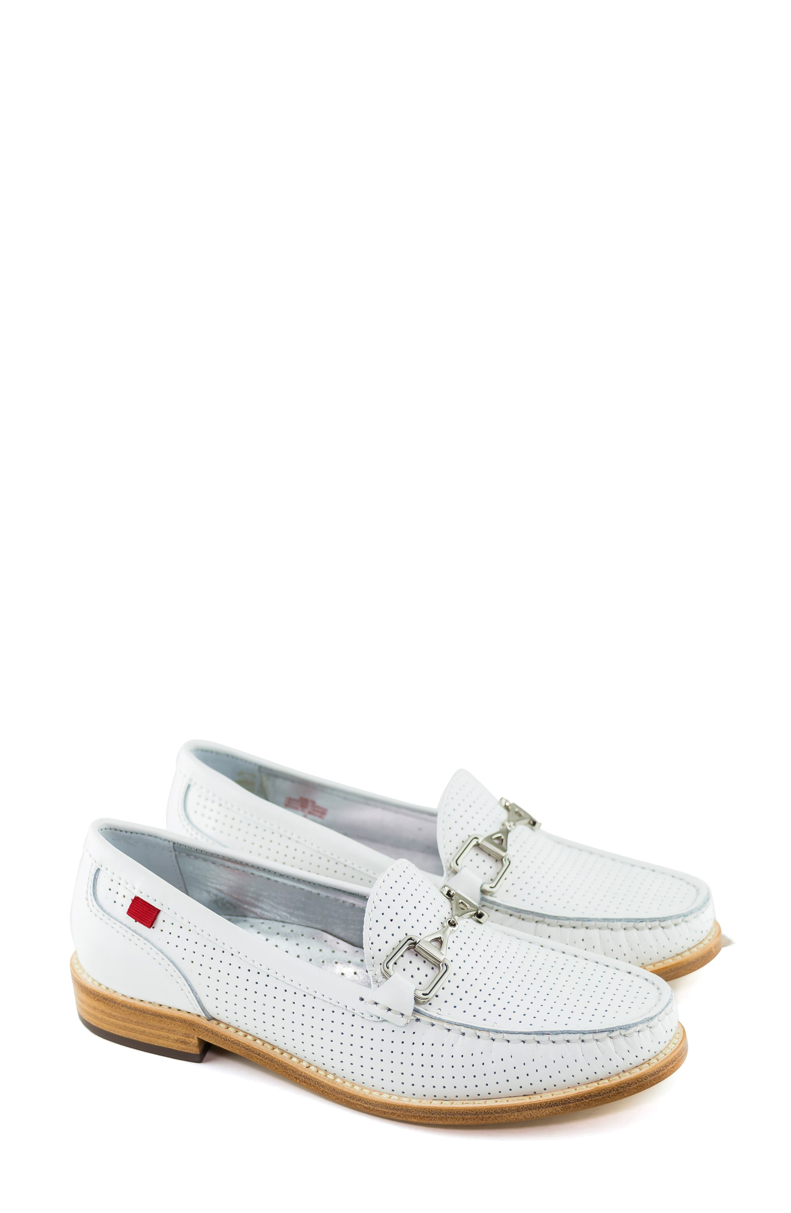 MARC JOSEPH NEW YORK, Park Ave Perforated Loafer, Alternate thumbnail 7, color, WHITE LEATHER