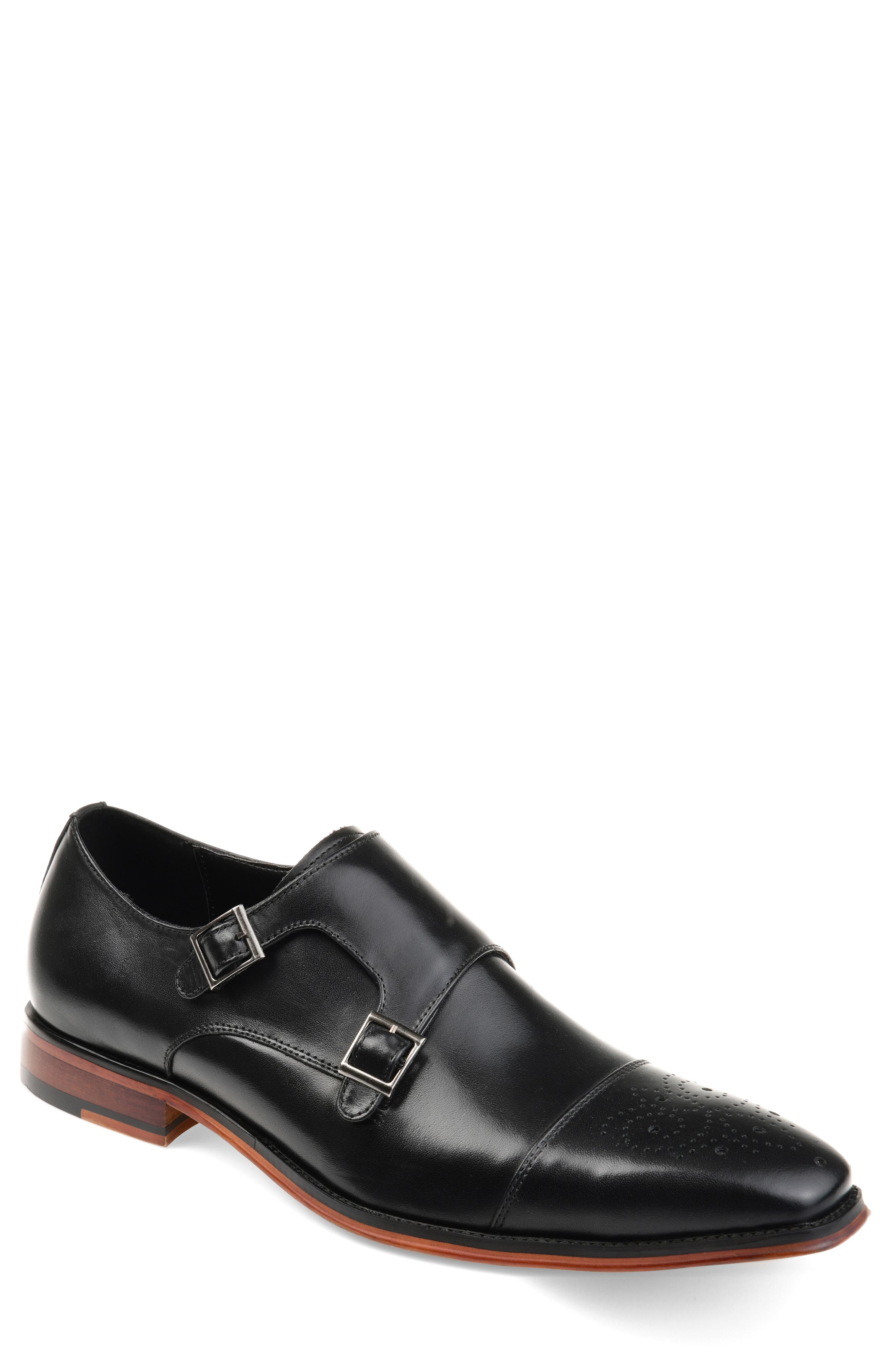 THOMAS AND VINE Rockwell Double Strap Cap Toe Monk Shoe, Main, color, BLACK LEATHER
