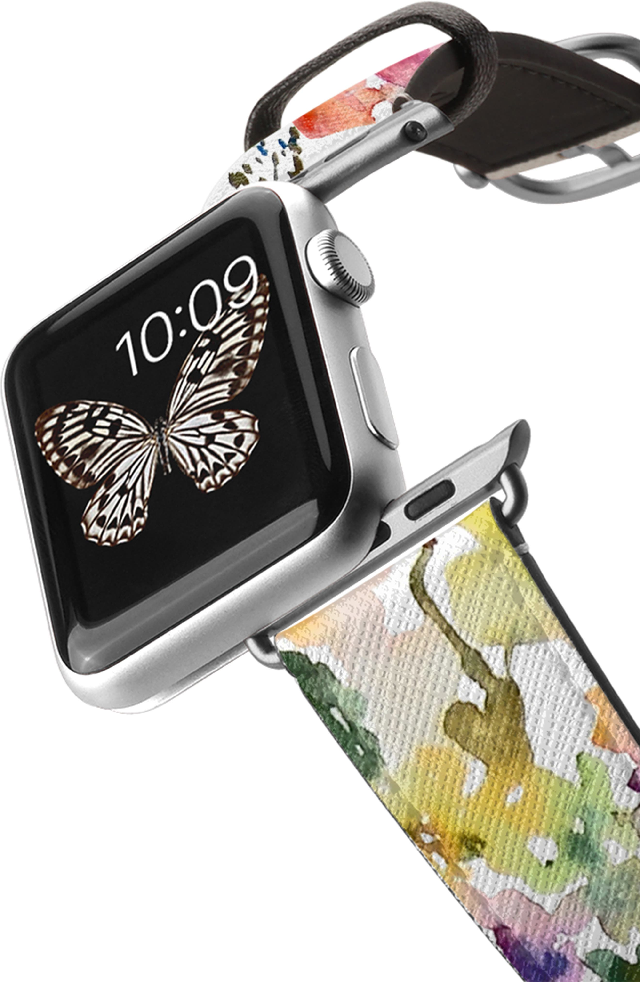 CASETIFY, Saffiano From the Garden Faux Leather Apple Watch Strap, Alternate thumbnail 2, color, WHITE/ SILVER