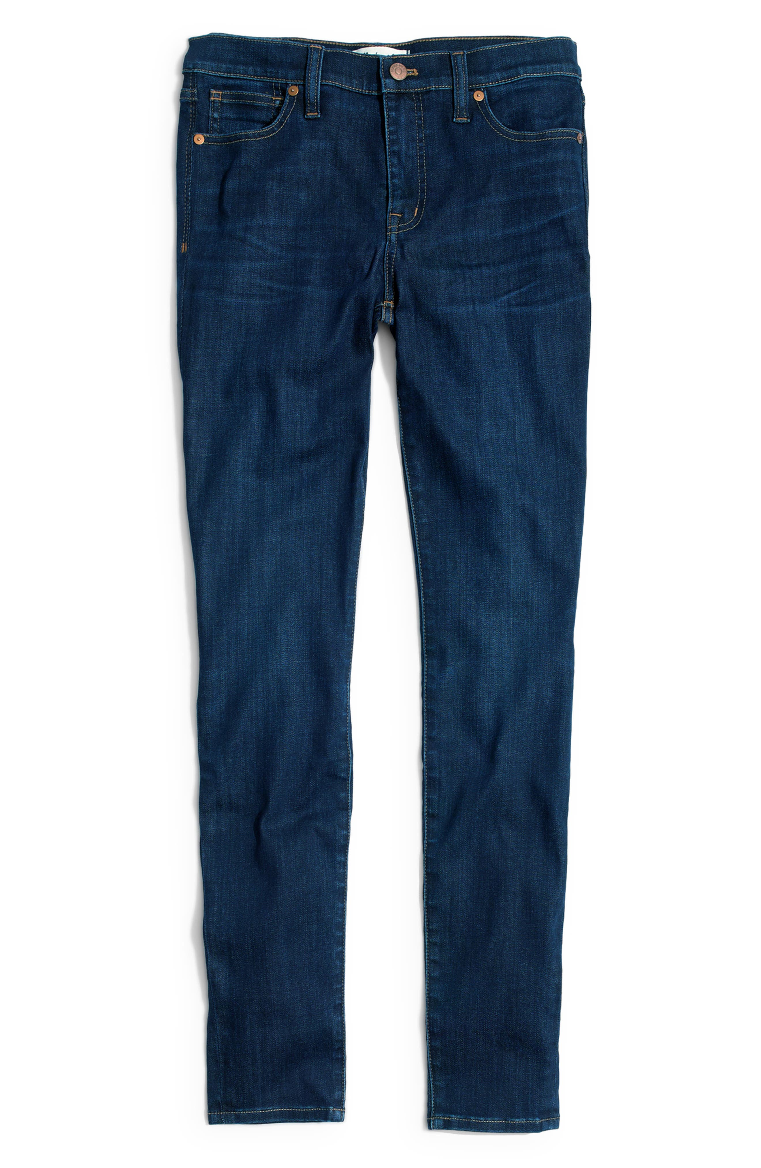 MADEWELL, 9-Inch High Rise Skinny Jeans, Alternate thumbnail 8, color, LARKSPUR