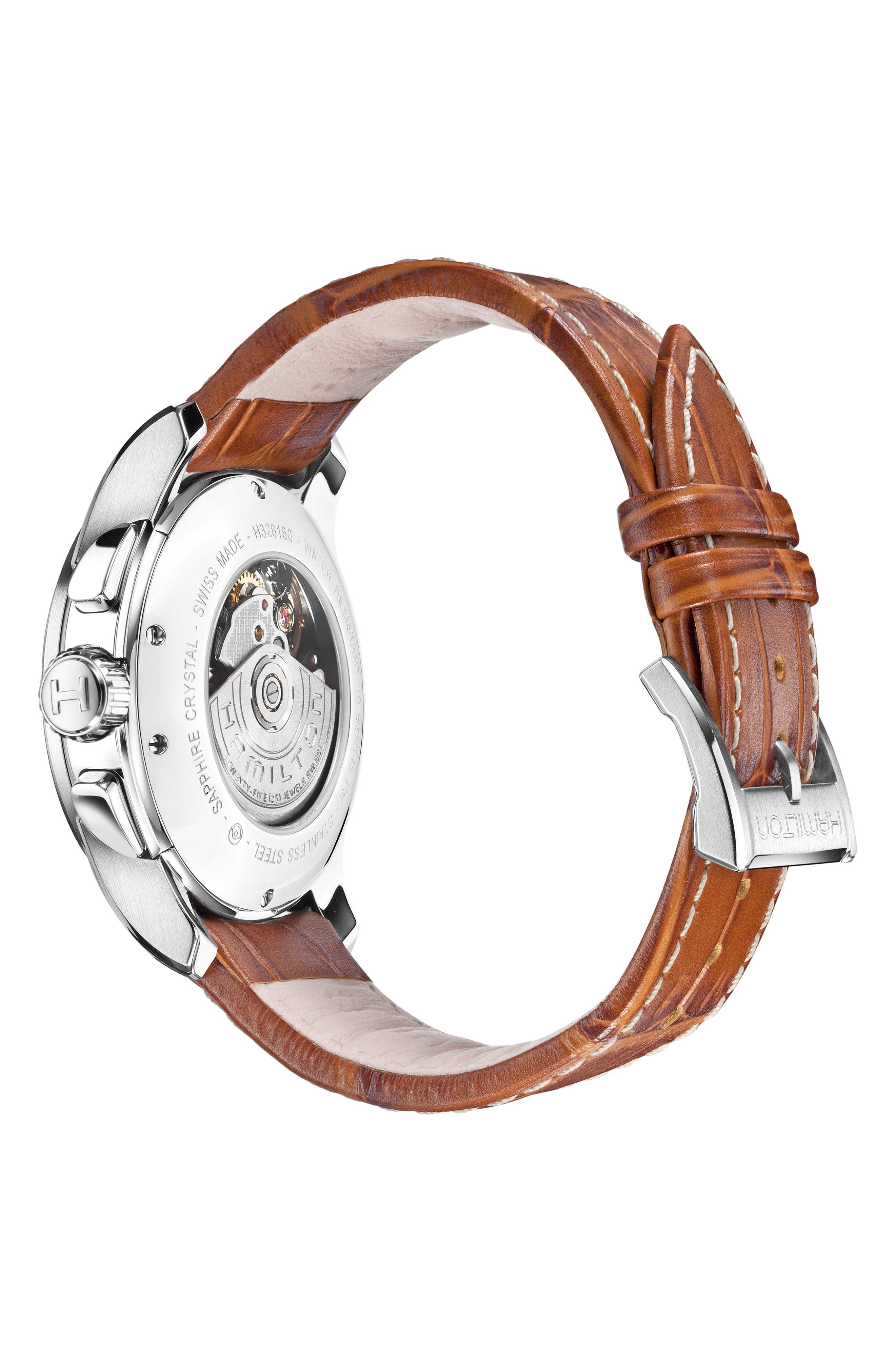 HAMILTON, Jazzmaster Viewmatic Auto Leather Strap Watch, 40mm, Alternate thumbnail 2, color, BROWN/ SILVER
