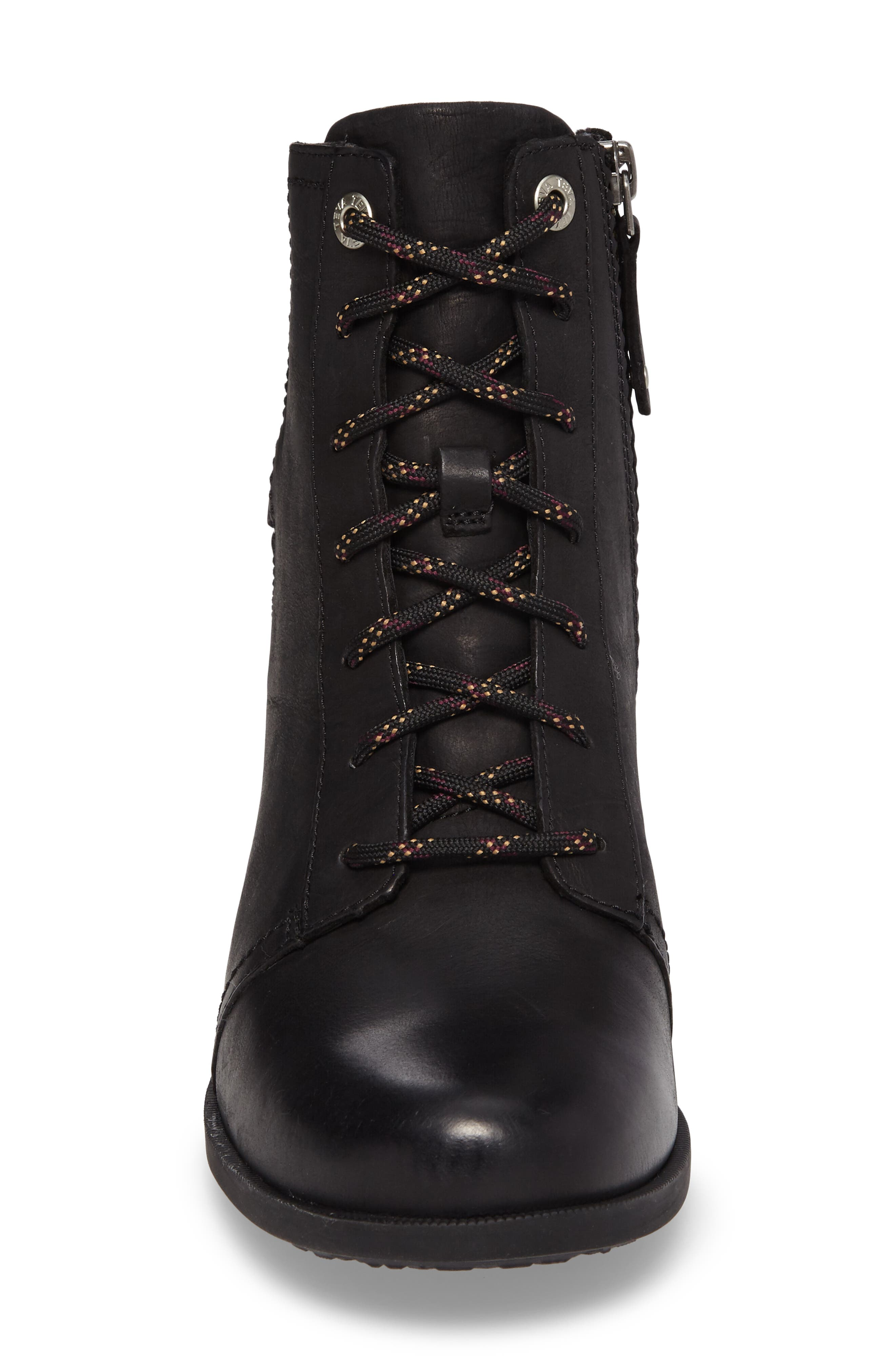 TEVA, Foxy Lace-Up Waterproof Boot, Alternate thumbnail 4, color, BLACK LEATHER