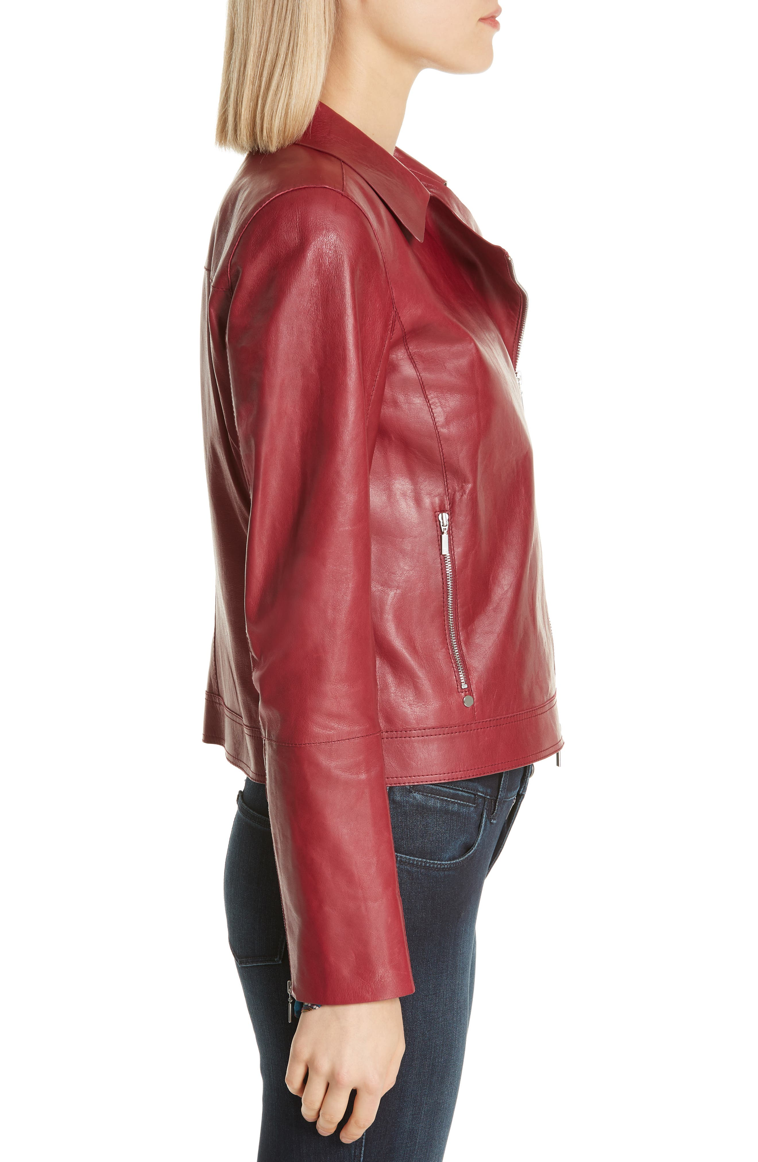 LAFAYETTE 148 NEW YORK, Marykate Leather Moto Jacket, Alternate thumbnail 3, color, 600