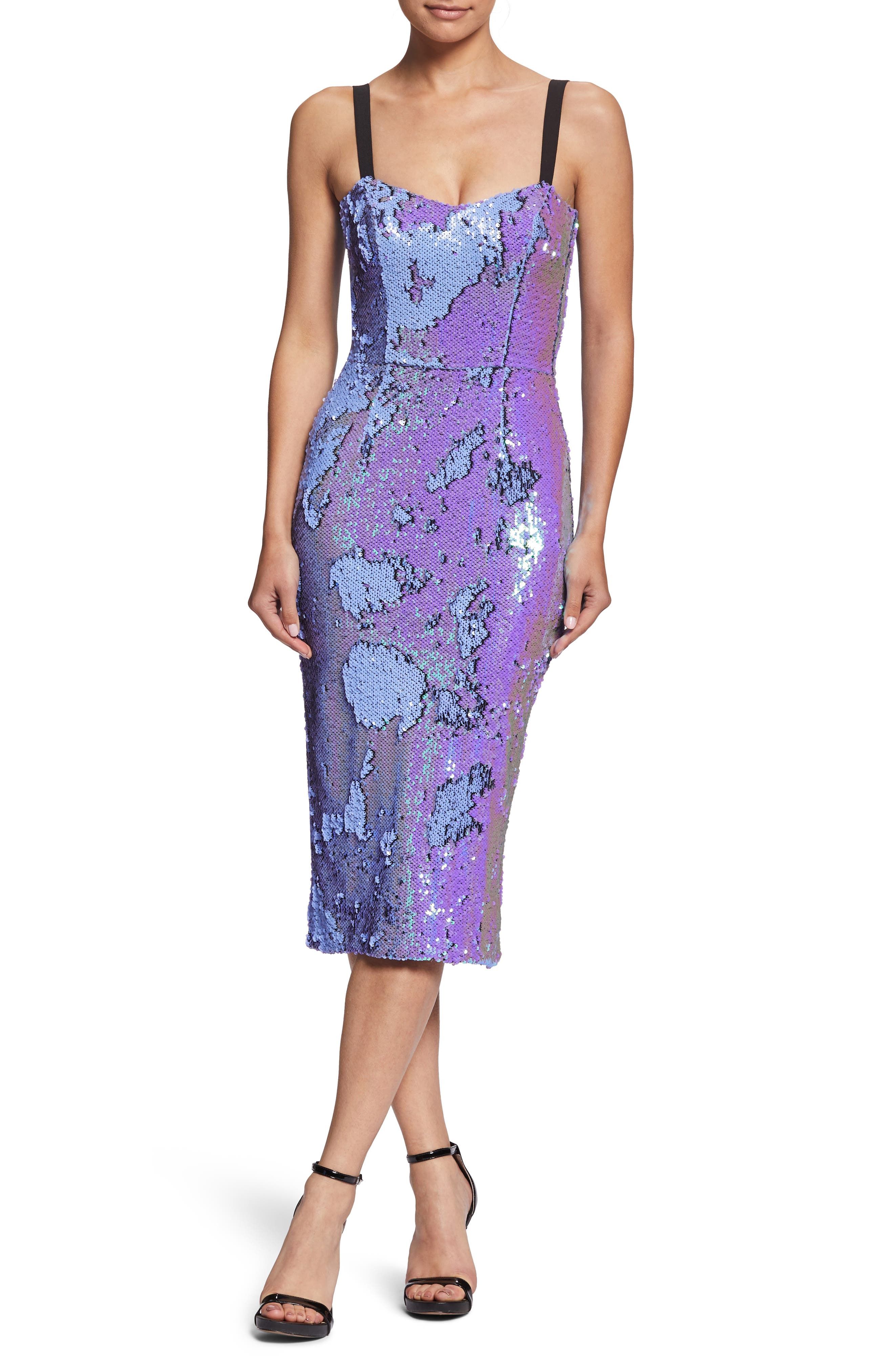 DRESS THE POPULATION, Lynda Iridescent Sequin Sheath Dress, Alternate thumbnail 6, color, ULTRA VIOLET