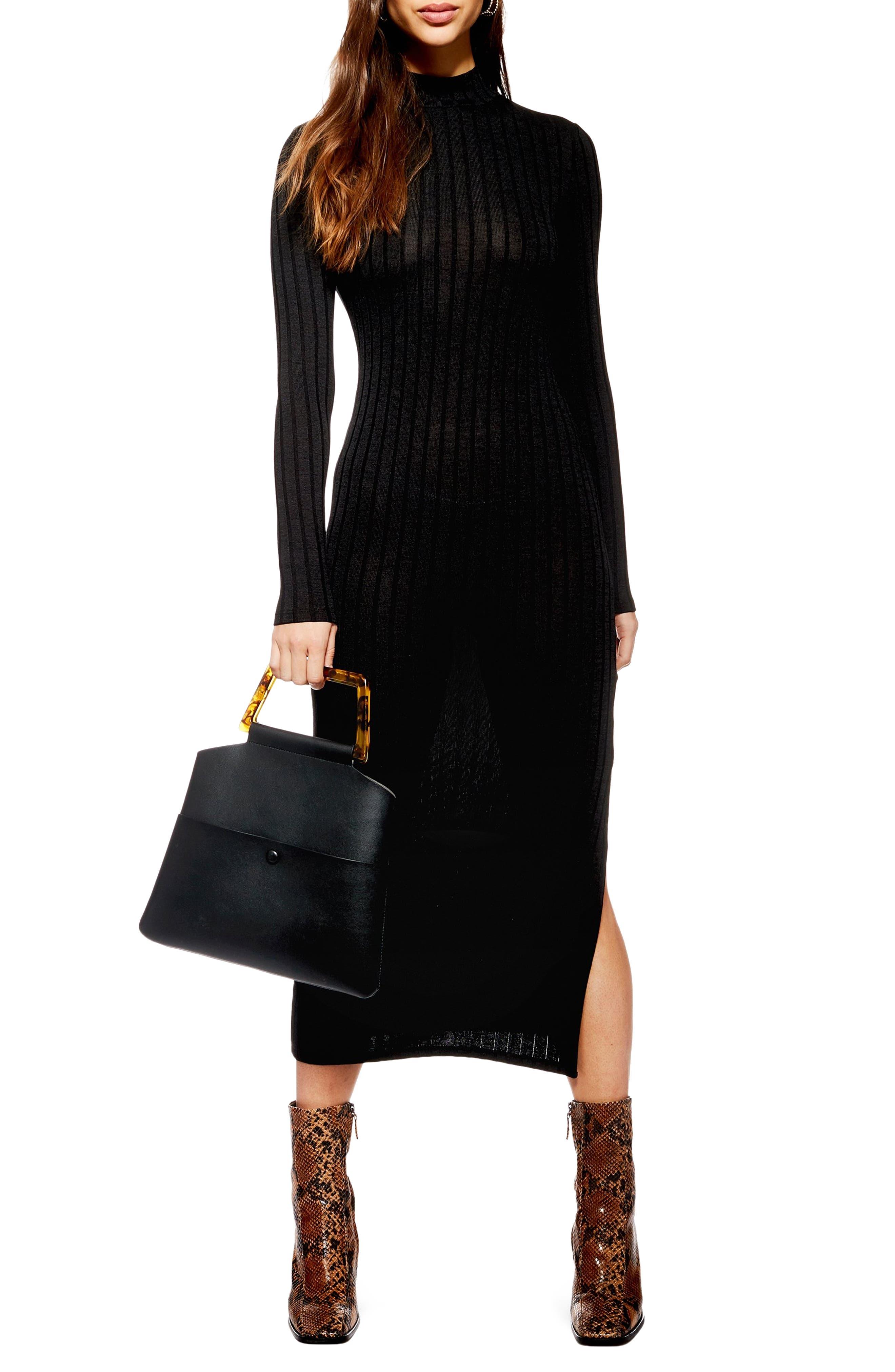 TOPSHOP High Neck Ribbed Midi Dress, Main, color, BLACK