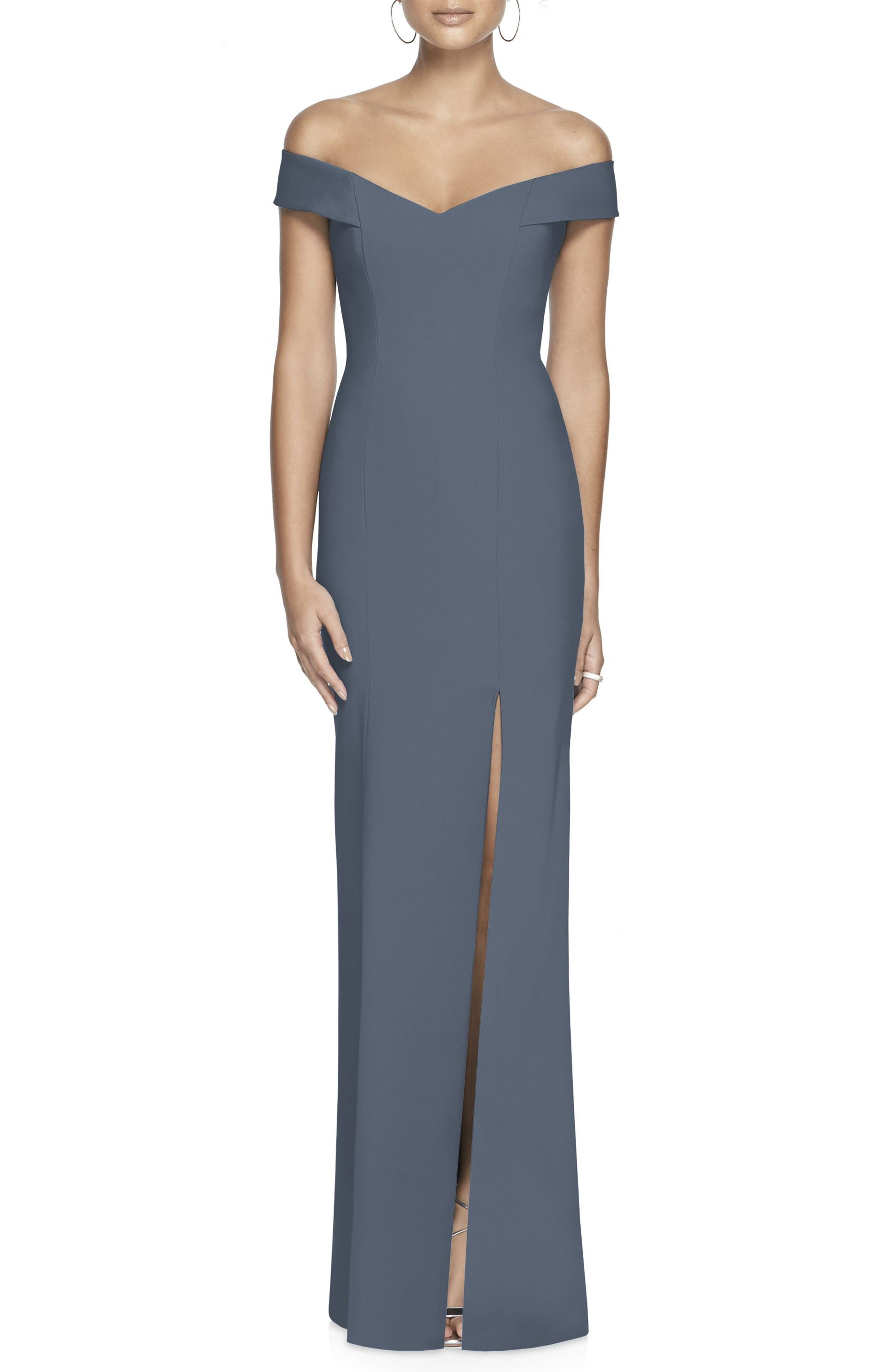 Dessy Collection Off The Shoulder Crossback Gown, Grey