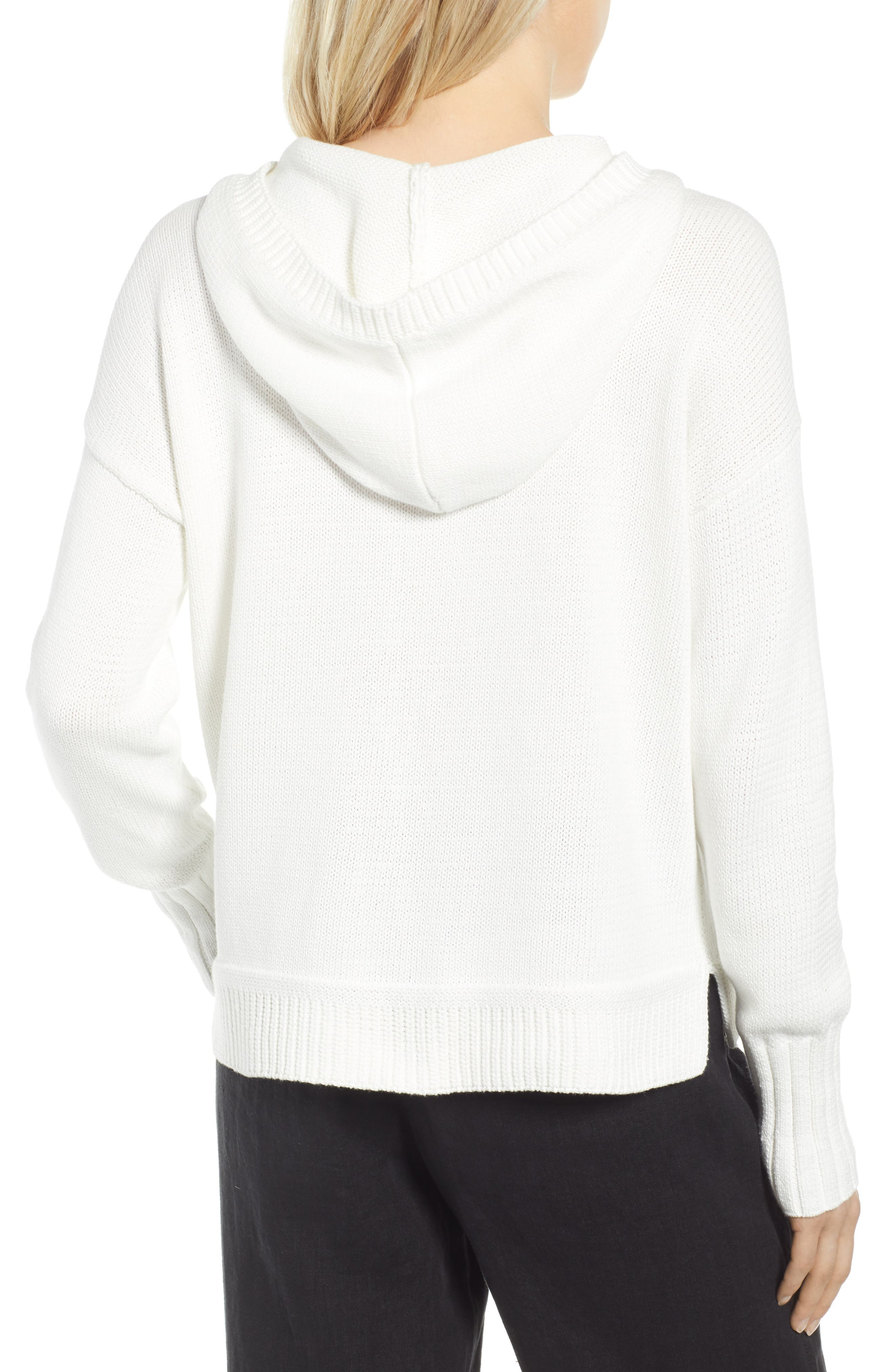 CASLON<SUP>®</SUP>, Off-Duty Hooded Sweater, Alternate thumbnail 2, color, WHITE