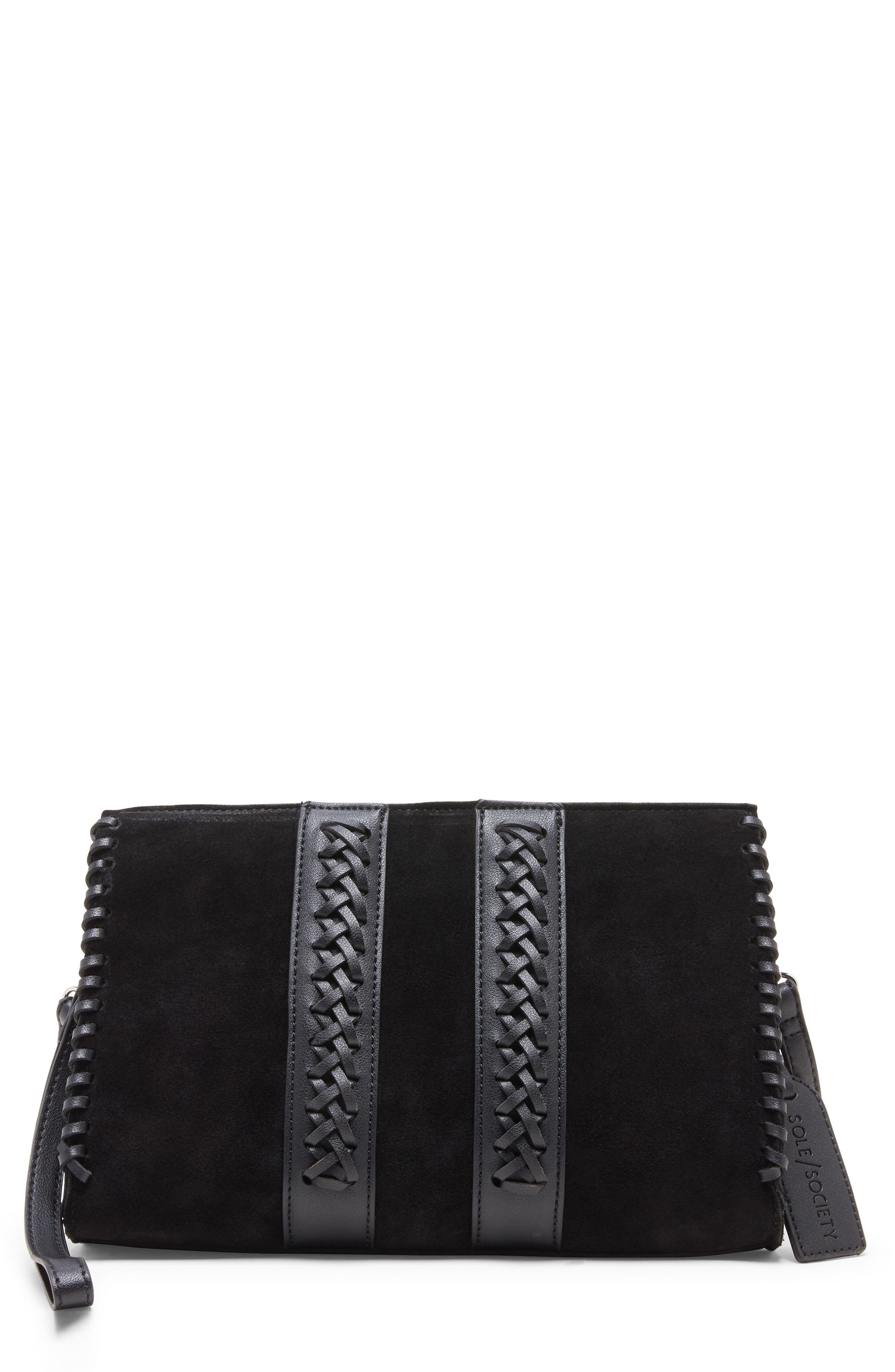 SOLE SOCIETY, Wahli Clutch, Main thumbnail 1, color, BLACK