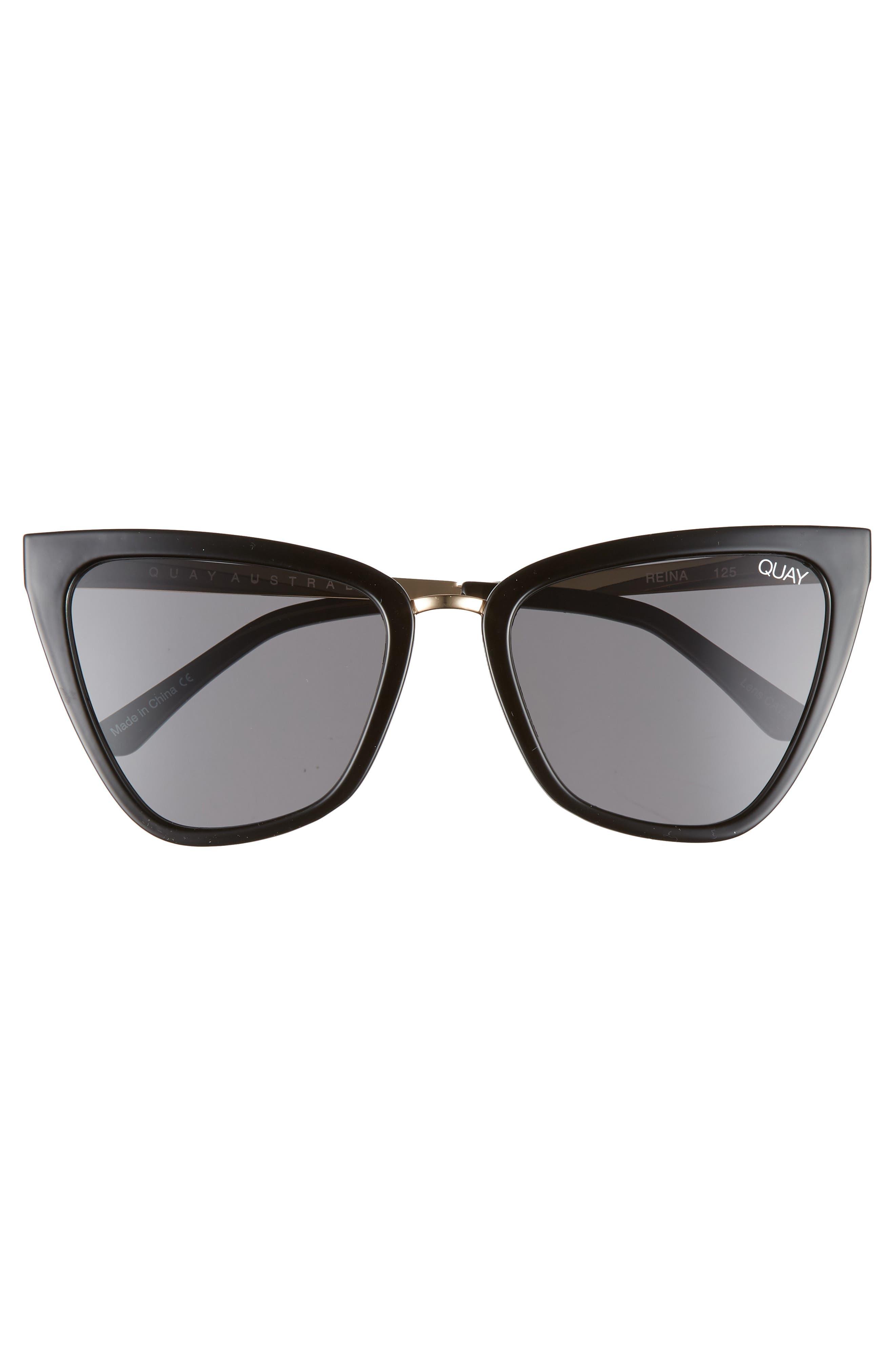 QUAY AUSTRALIA, x JLO Reina 51mm Cat Eye Sunglasses, Alternate thumbnail 3, color, BLACK / SMOKE