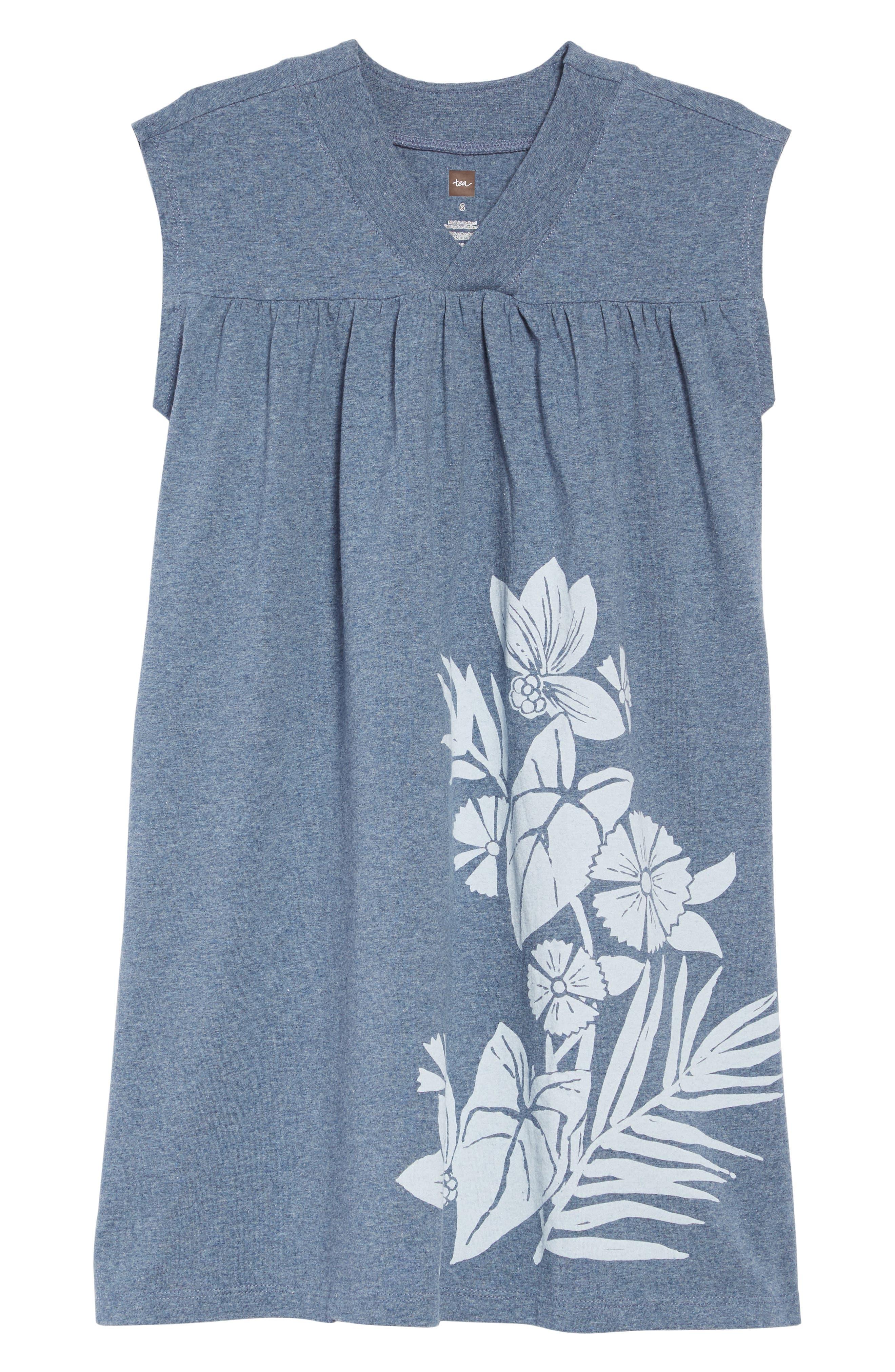 Girls Tea Collection Floral Trapeze Dress Size 6  Blue