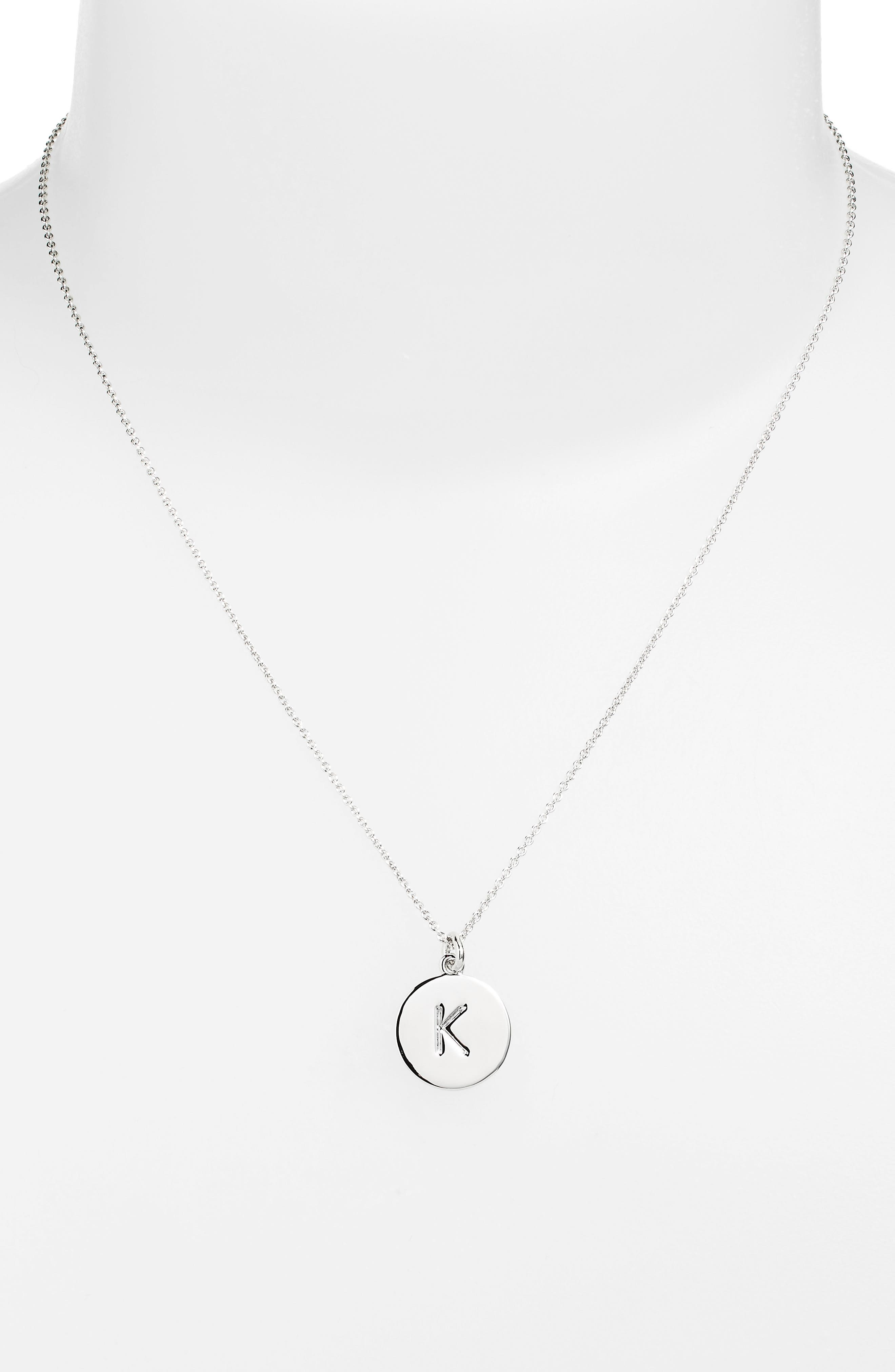 KATE SPADE NEW YORK, 'one in a million' initial pendant necklace, Main thumbnail 1, color, SILVER K