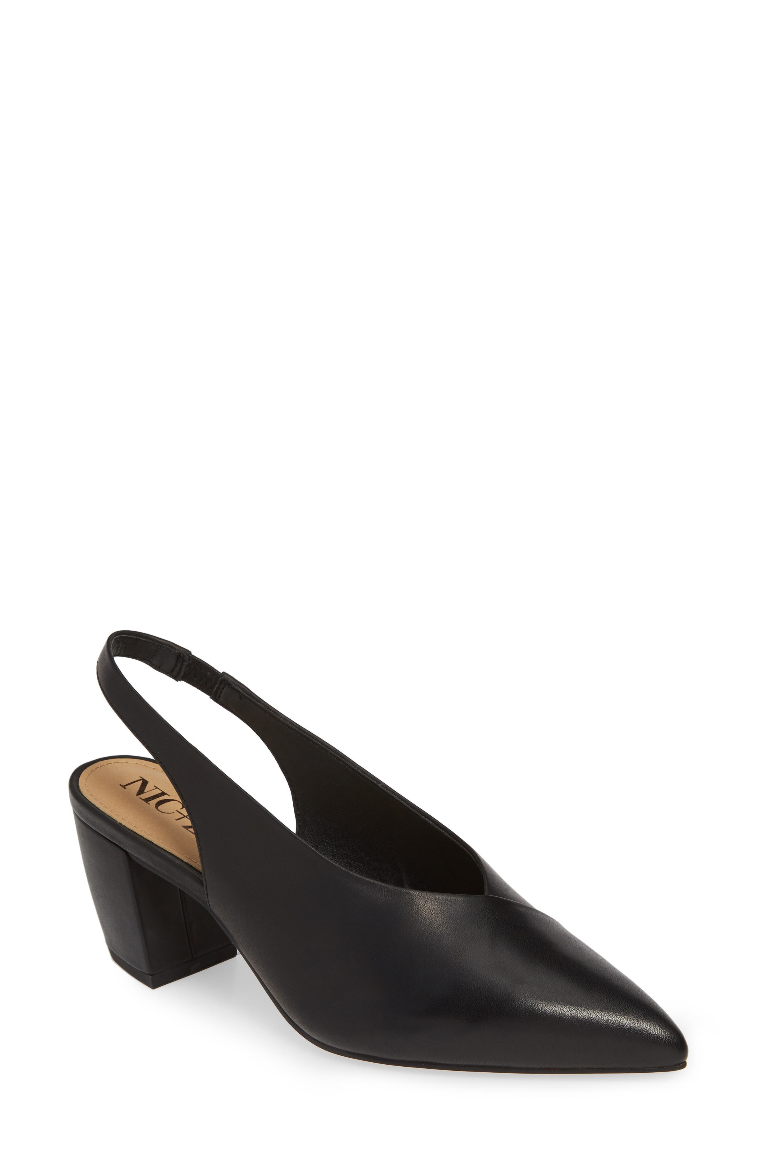 NIC+ZOE, Camille Slingback Pointy Toe Pump, Main thumbnail 1, color, BLACK LEATHER