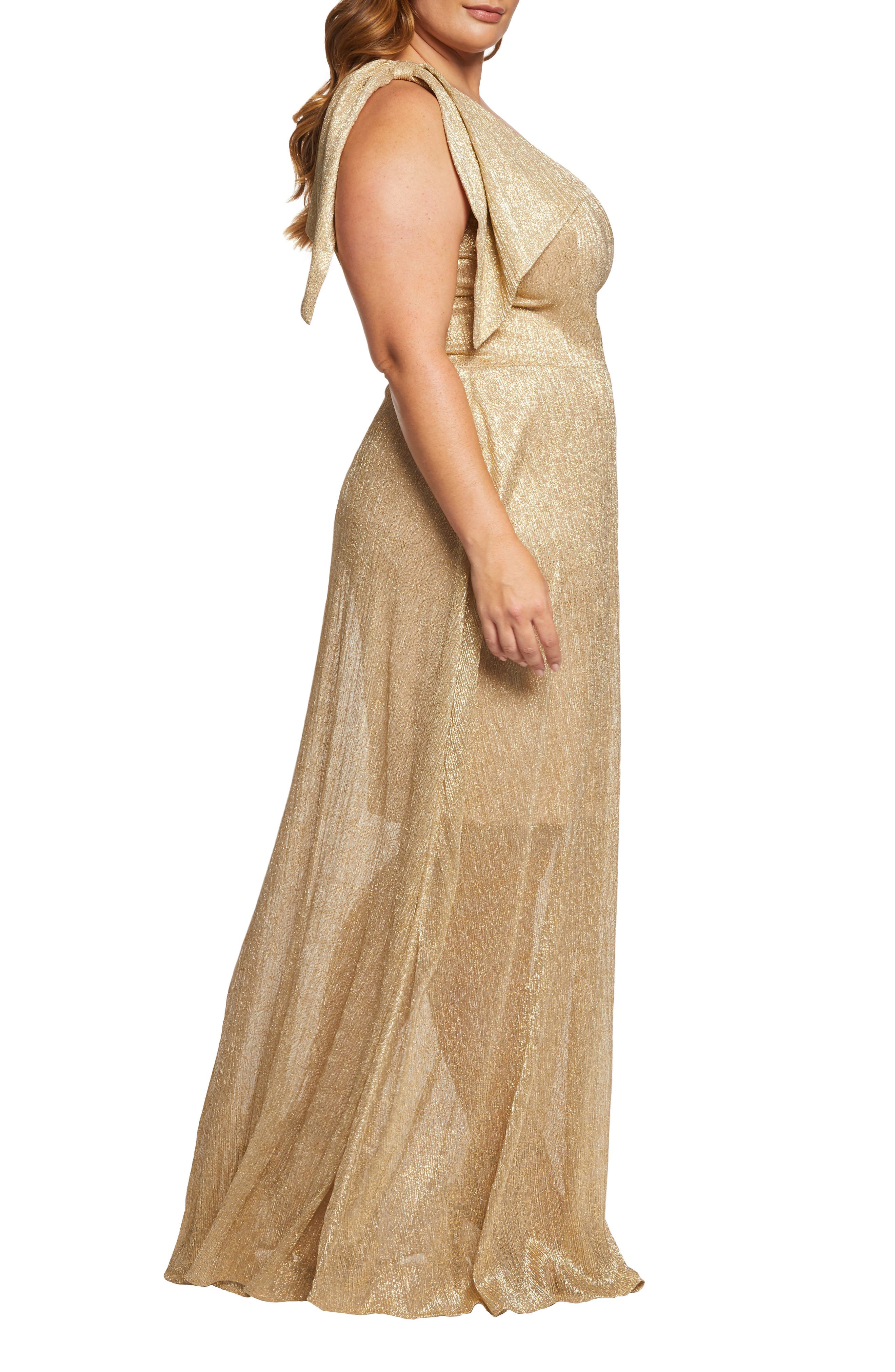 DRESS THE POPULATION, Savannah One-Shoulder Gown, Alternate thumbnail 3, color, GOLD