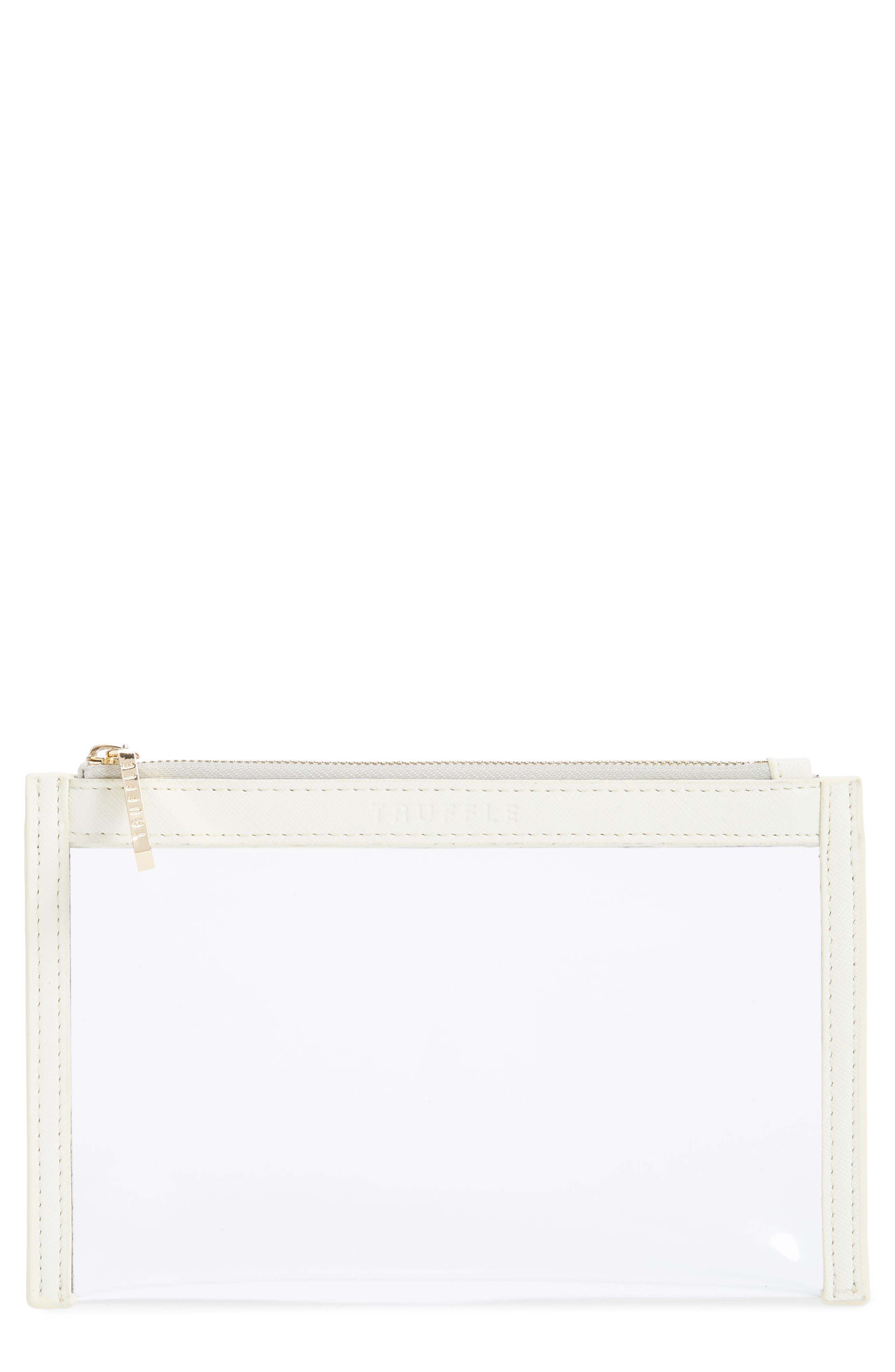 TRUFFLE, Mini Clarity Clutch, Main thumbnail 1, color, WHITE