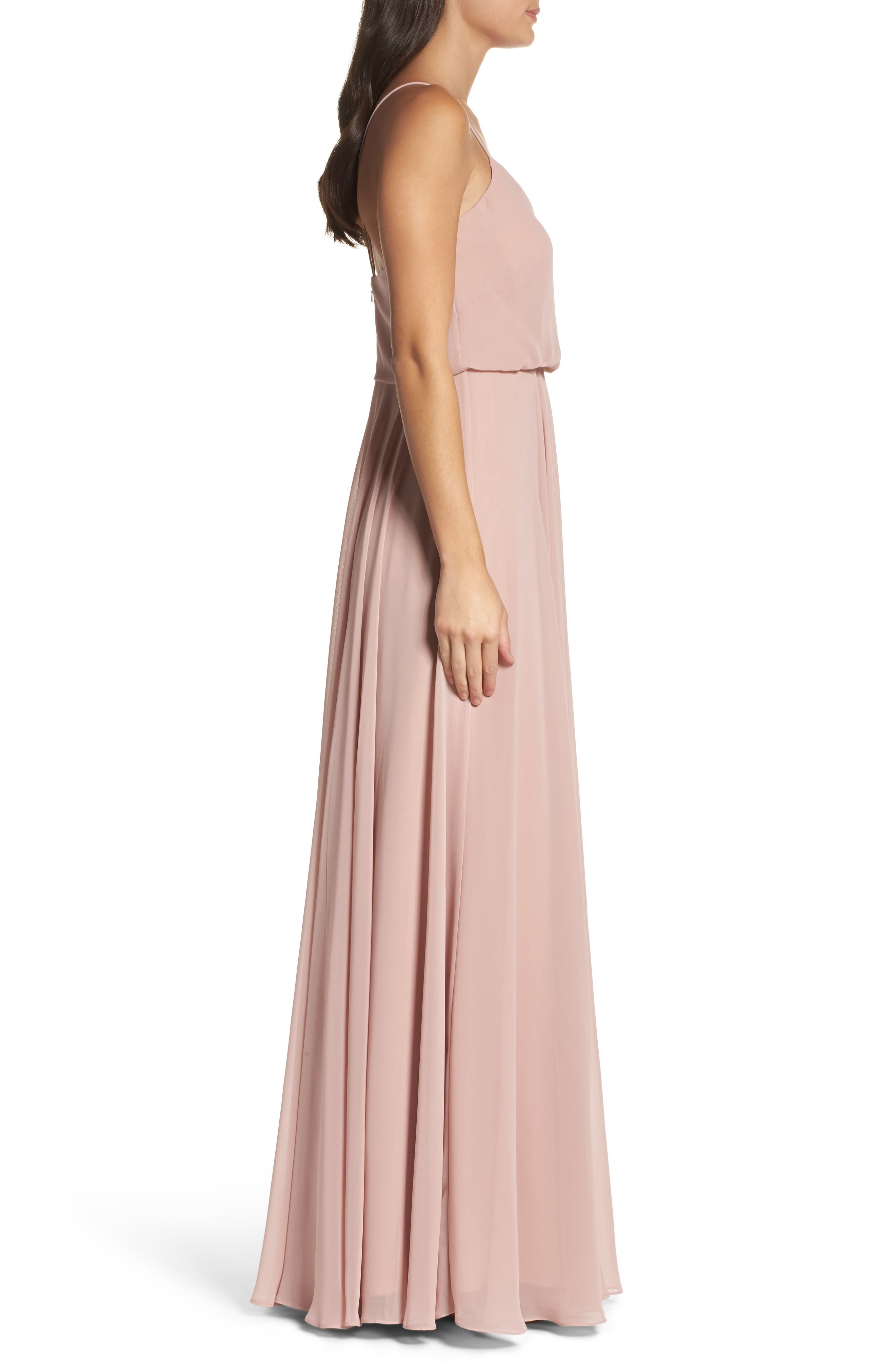 JENNY YOO, Inesse Chiffon V-Neck Spaghetti Strap Gown, Alternate thumbnail 4, color, WHIPPED APRICOT