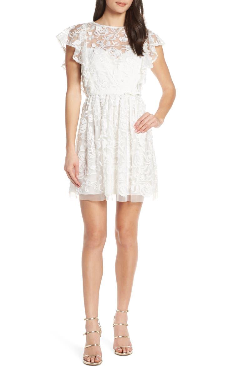 Ml Monique Lhuillier Dresses FLORAL EMBROIDERY RUFFLE PARTY DRESS