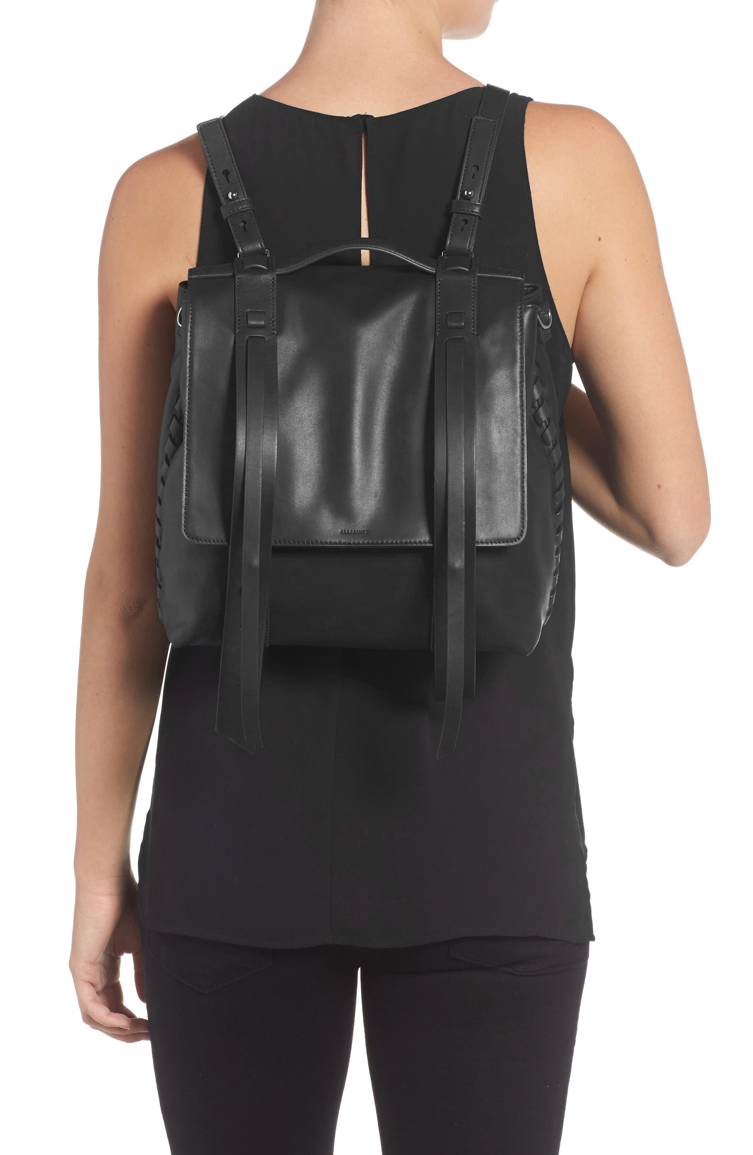 ALLSAINTS, Fin Leather Backpack, Alternate thumbnail 2, color, BLACK