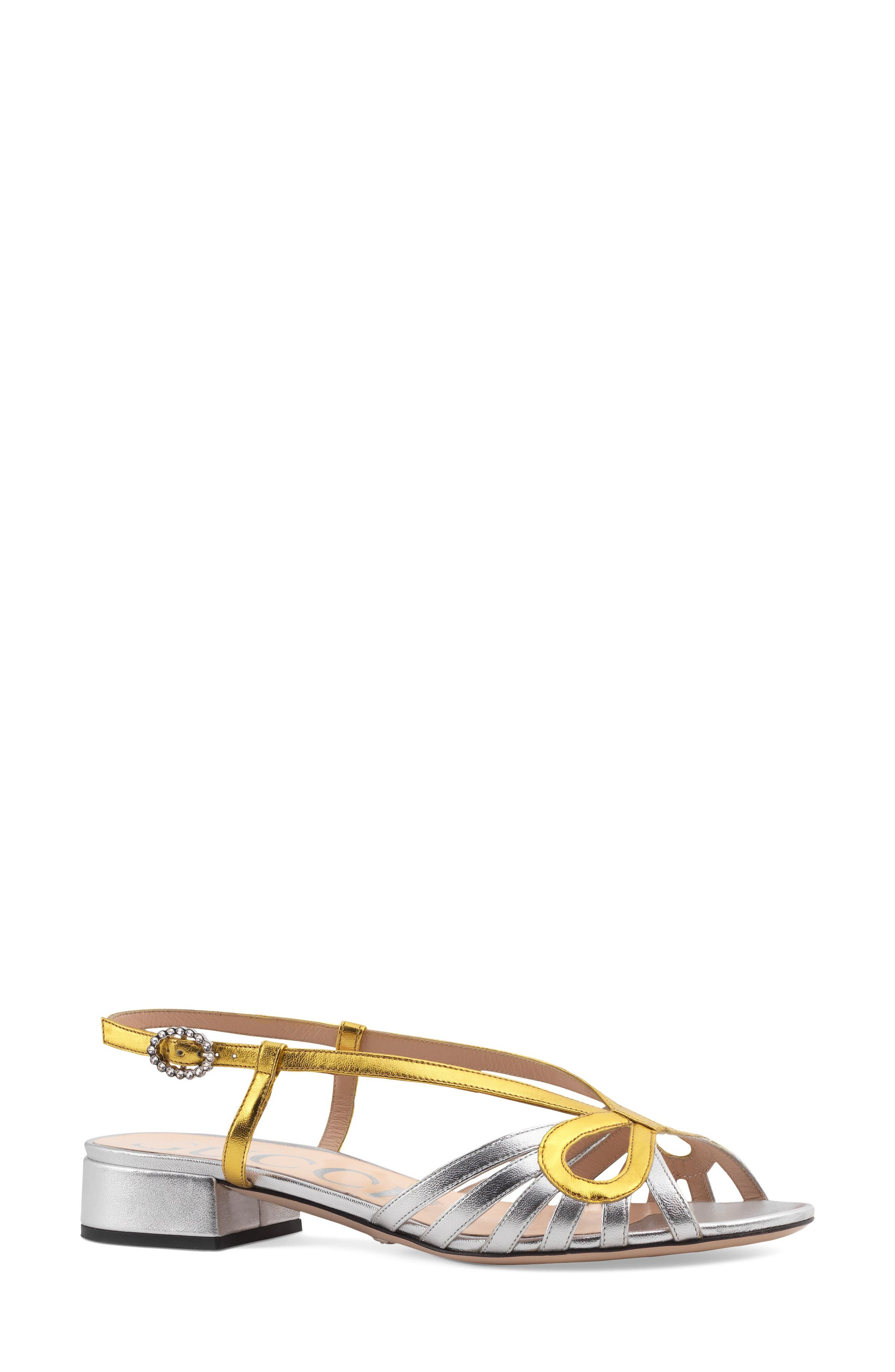 GUCCI Zephyra Sandal, Main, color, ARGENTO LEATHER
