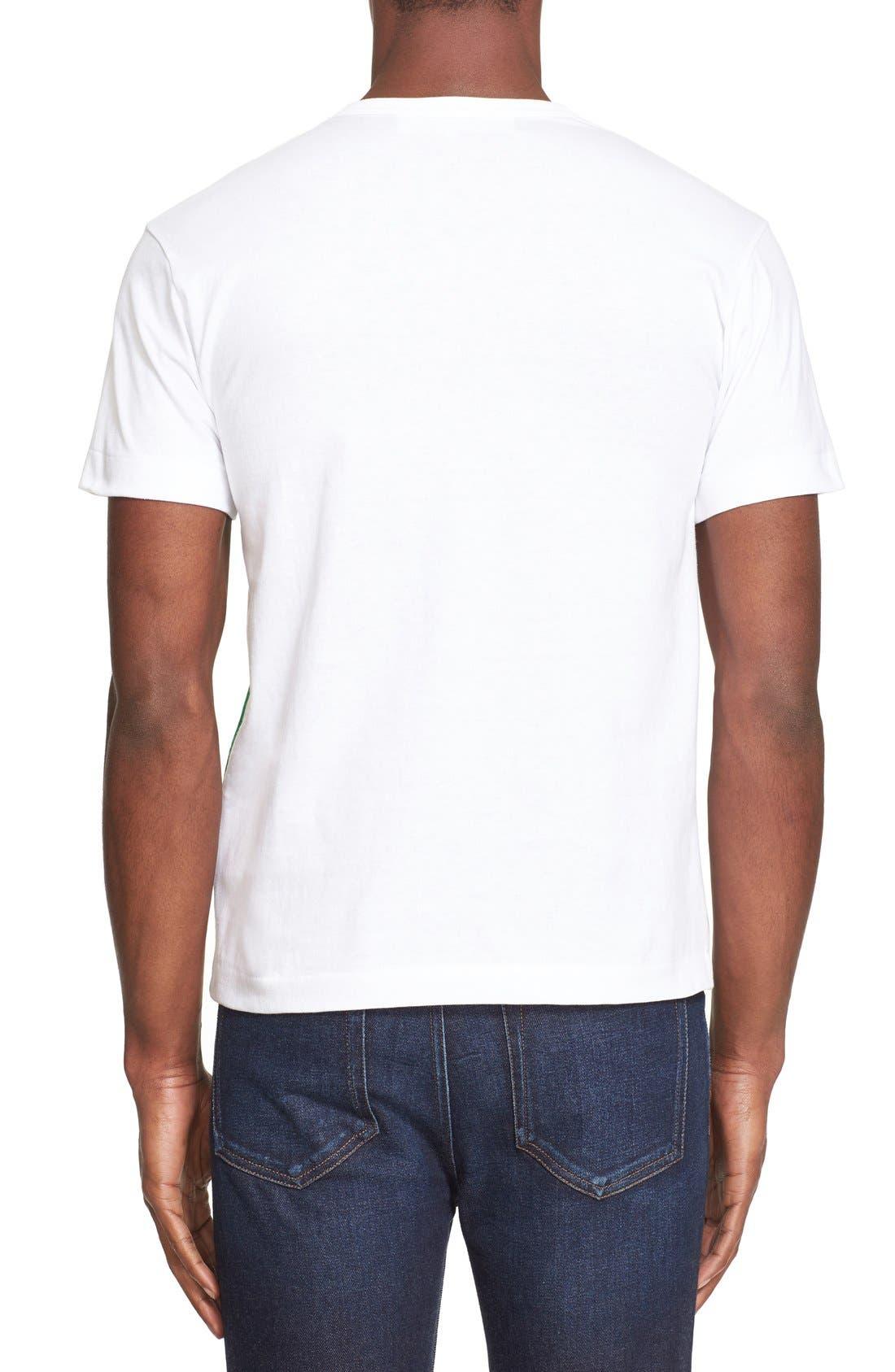 COMME DES GARÇONS PLAY, Graphic T-Shirt with Heart Appliqué, Alternate thumbnail 2, color, WHITE
