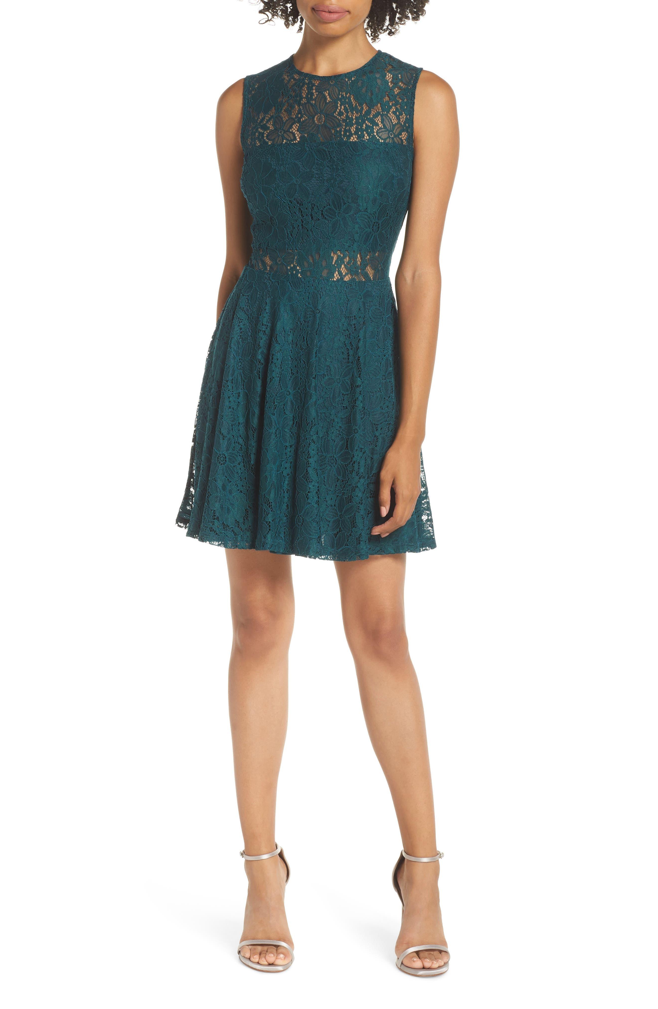 Lulus Lace Skater Dress, Green