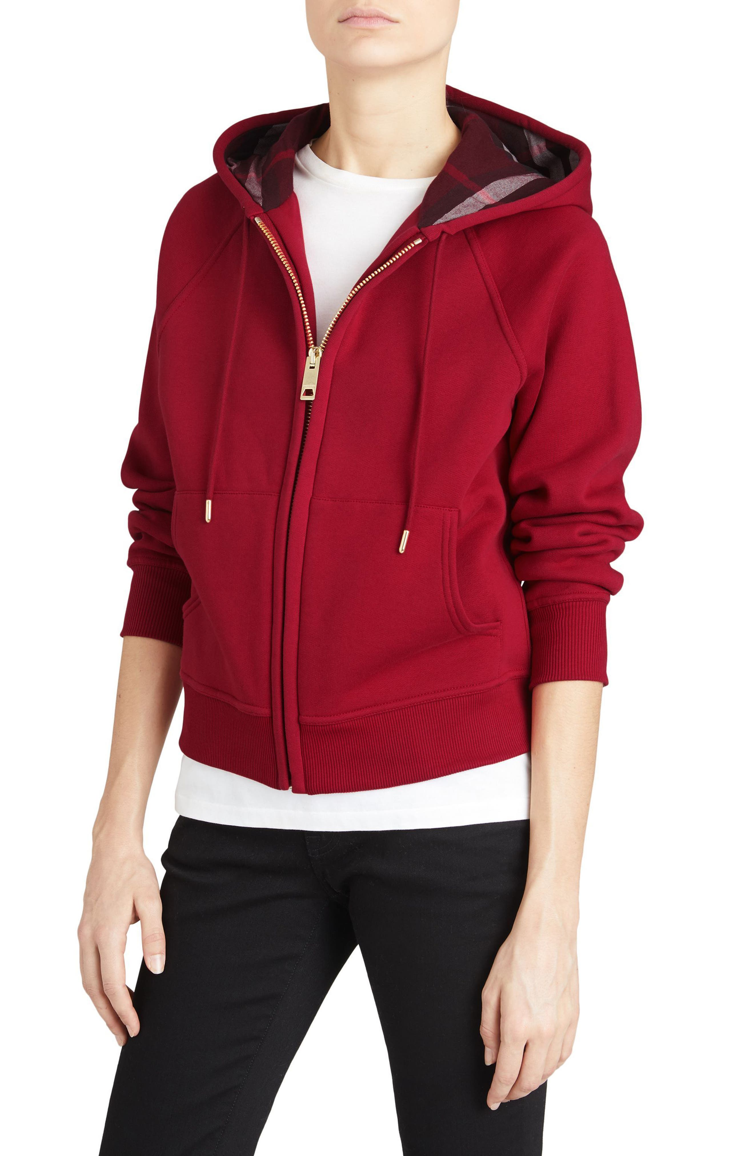 BURBERRY, Check Print Hoodie, Main thumbnail 1, color, PARADE RED