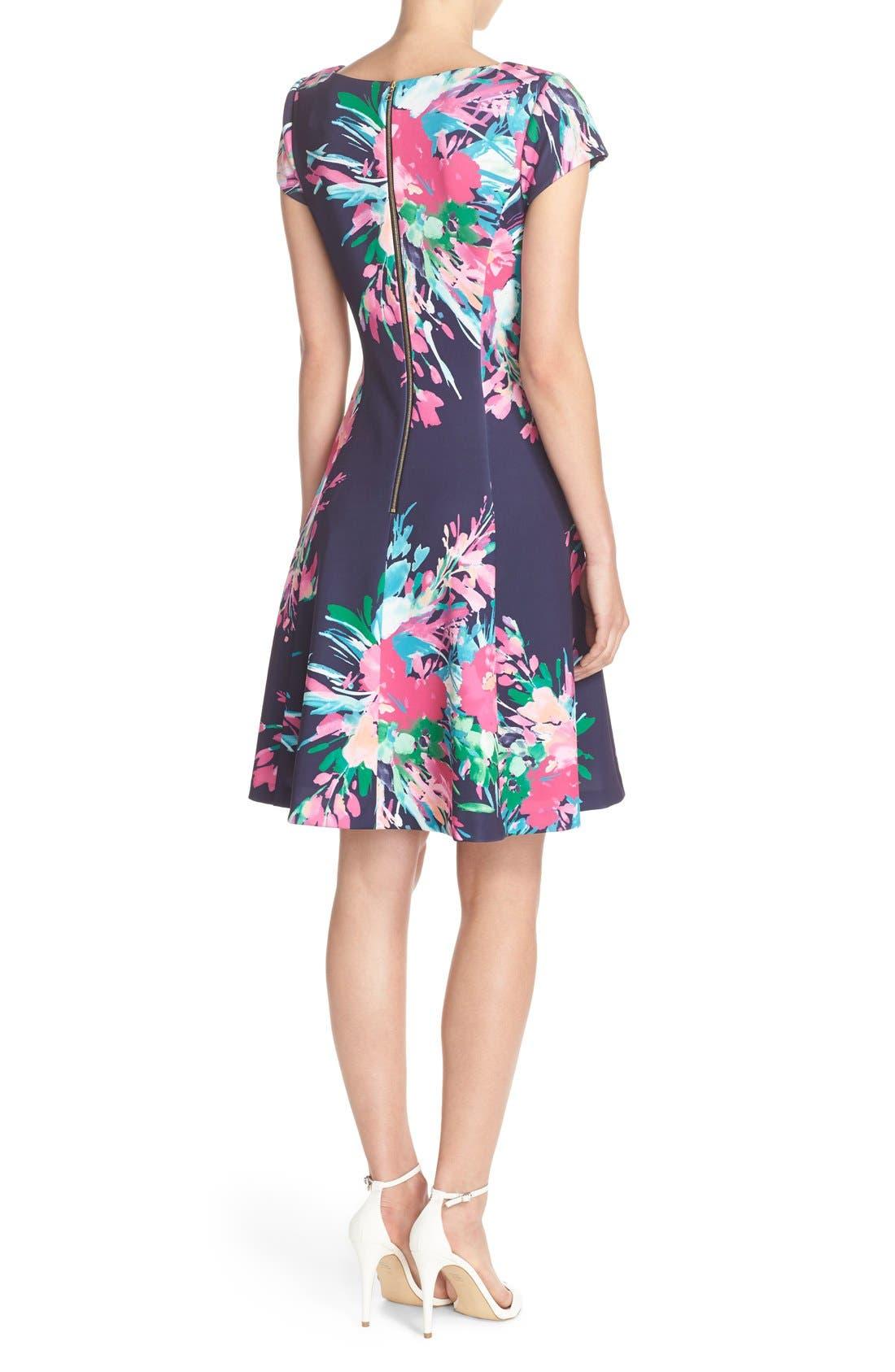 ELIZA J, Floral Print Scuba Fit & Flare Dress, Alternate thumbnail 4, color, 470